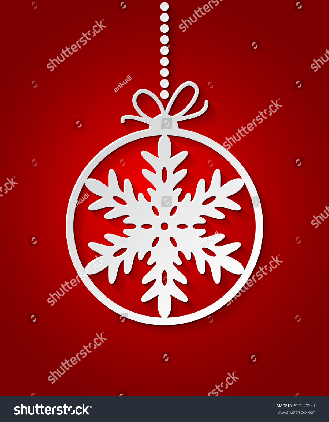 Red christmas ball background paper snowflakes stock vector red christmas ball background with paper snowflakes christmas card xmas invitations template vector stopboris Choice Image