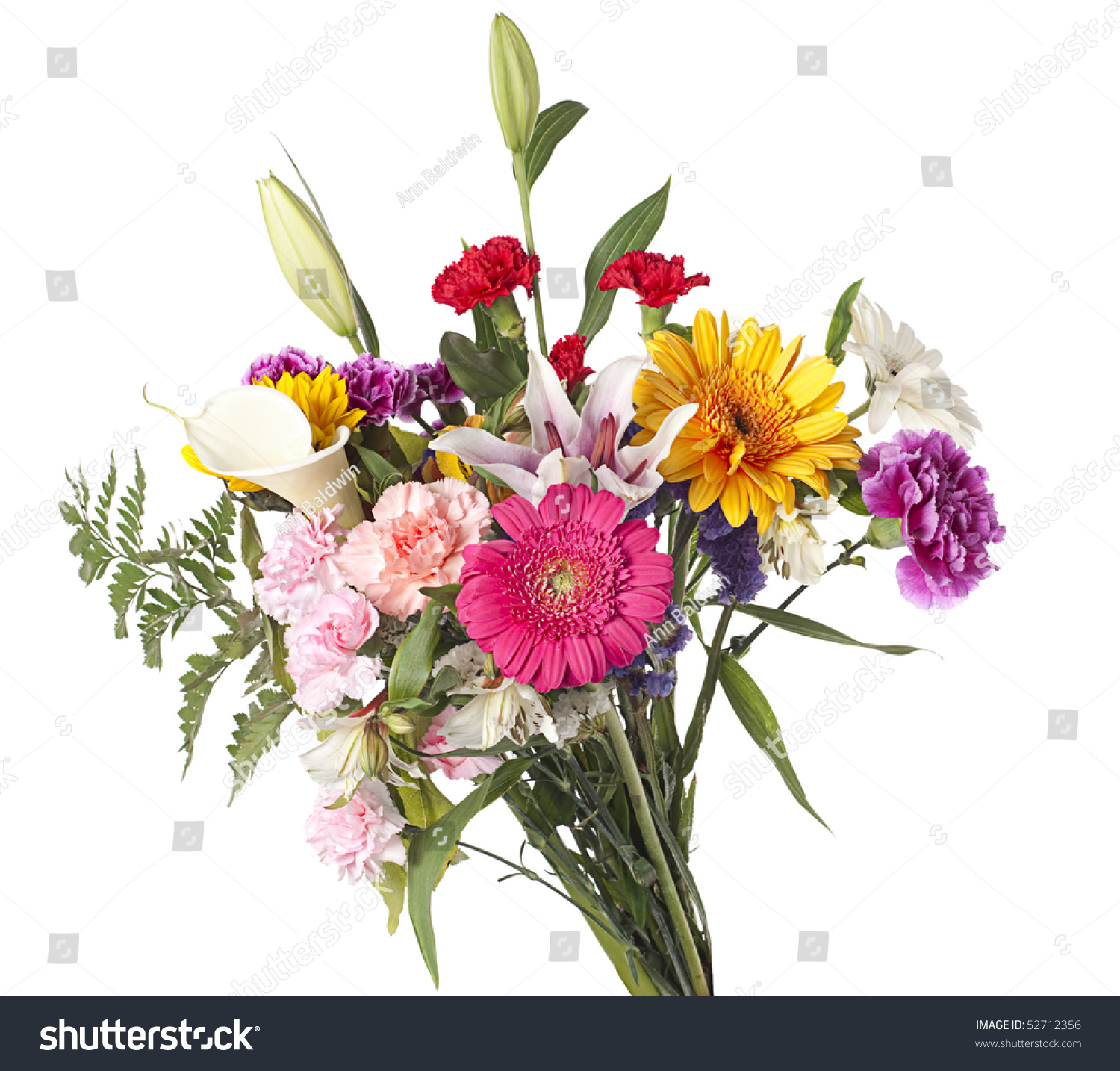 Beautiful Bouquet Mixed Cut Flowers On Stock Photo