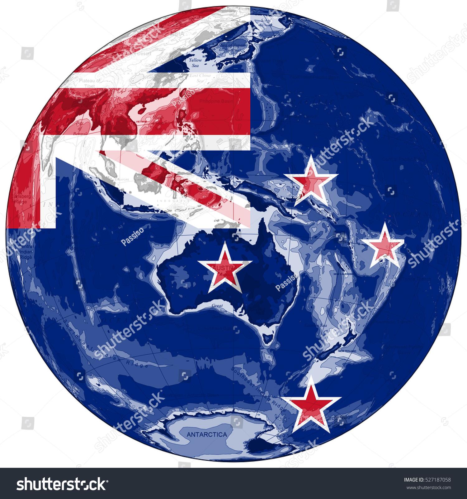 World Map Depiction Flag New Zealand Stock Illustration 527187058