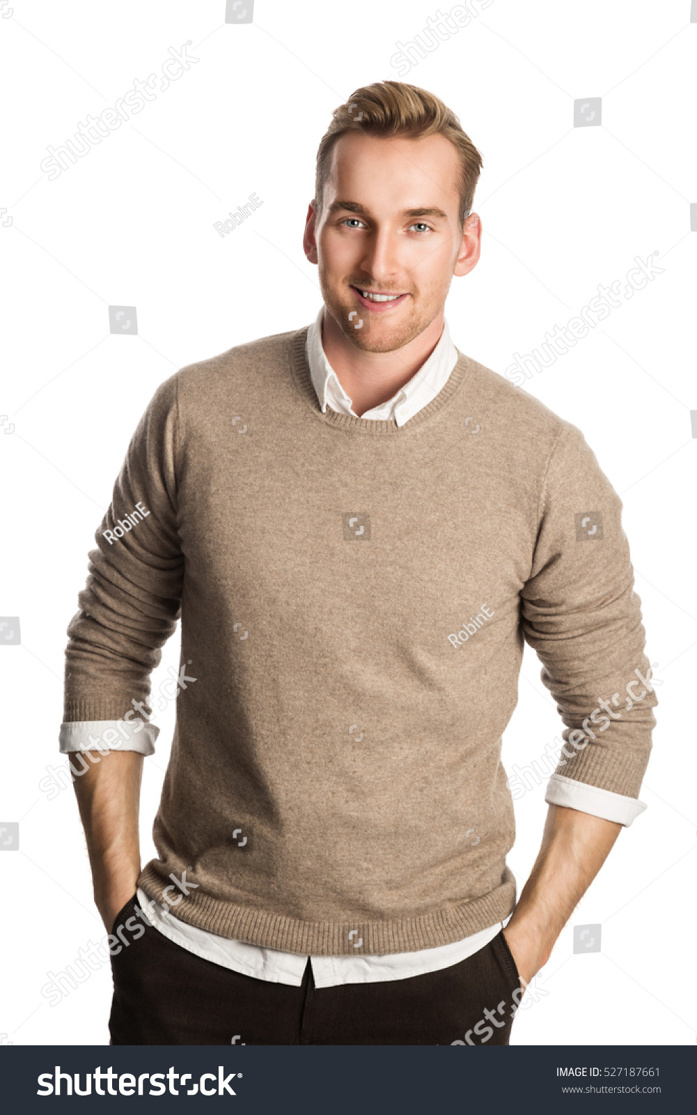 Handsome Blonde Man Wearing Brown Pullover Stock Photo 527187661 ...