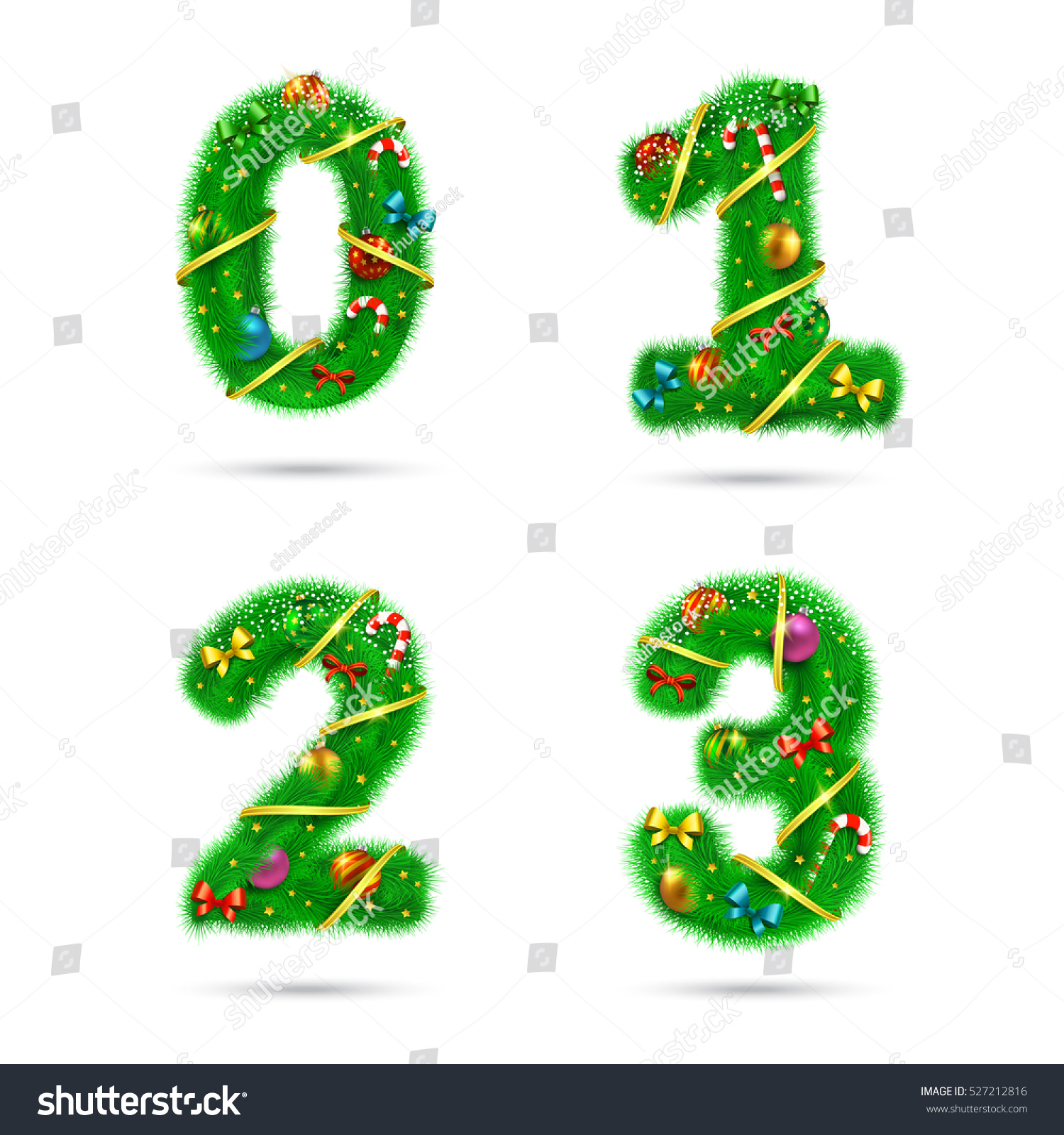 Fir Tree Font Numbers Christmas And New Year Holiday Design Elements