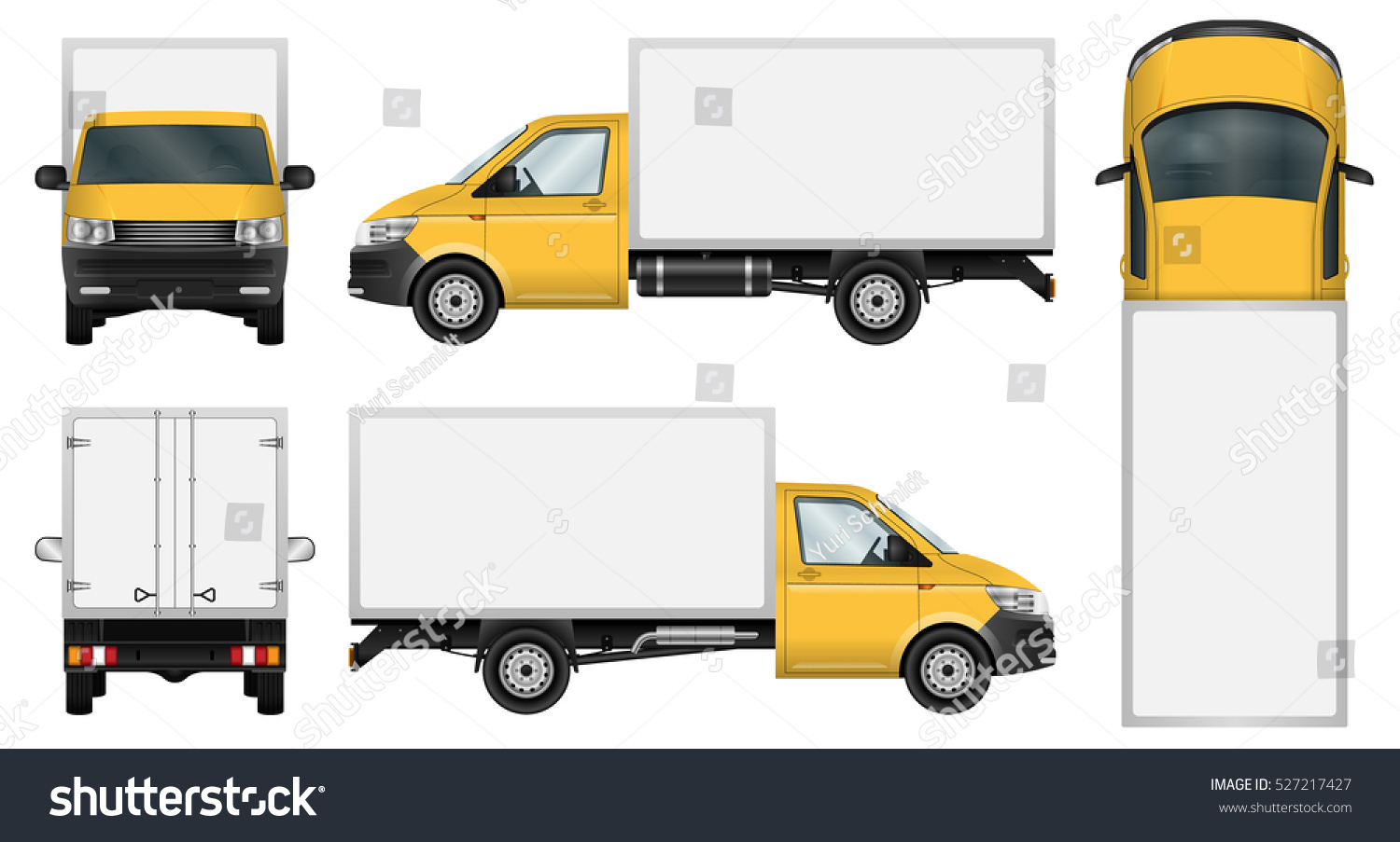 Yellow Delivery Van Vector Template Isolated Stock Vector ...
