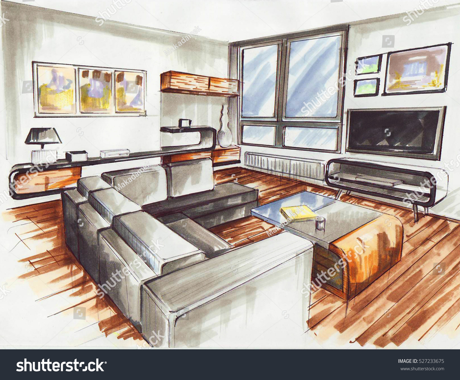 Living Room Very Modern Interior Design Stock Illustration 527233675