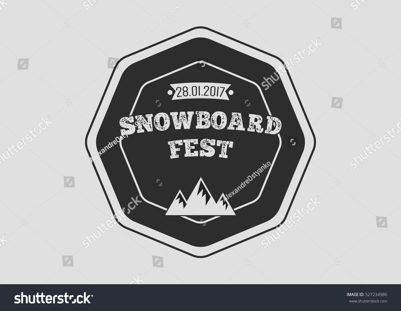 Snowboard Vintage Circular Logo On White Stock Vector Royalty Free