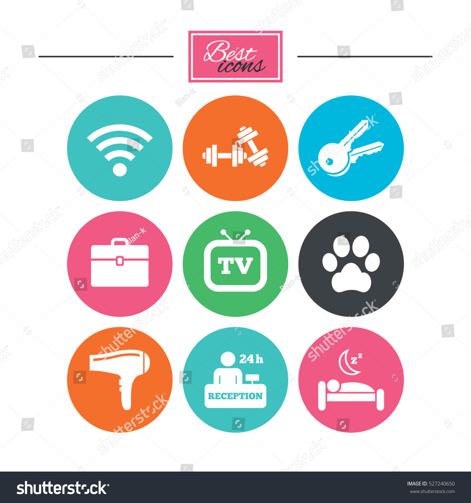 Apartment Service: Hotel Apartment Service Icons Wifi Internet Stock Vector