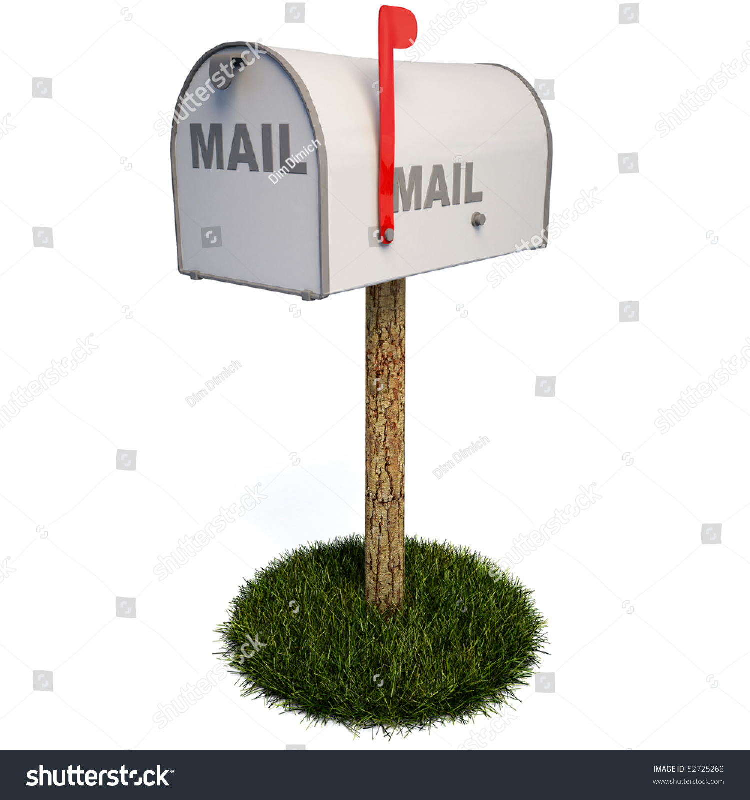 closed mailbox. Closed Mailbox With A Raised Flag. Clipping Path.