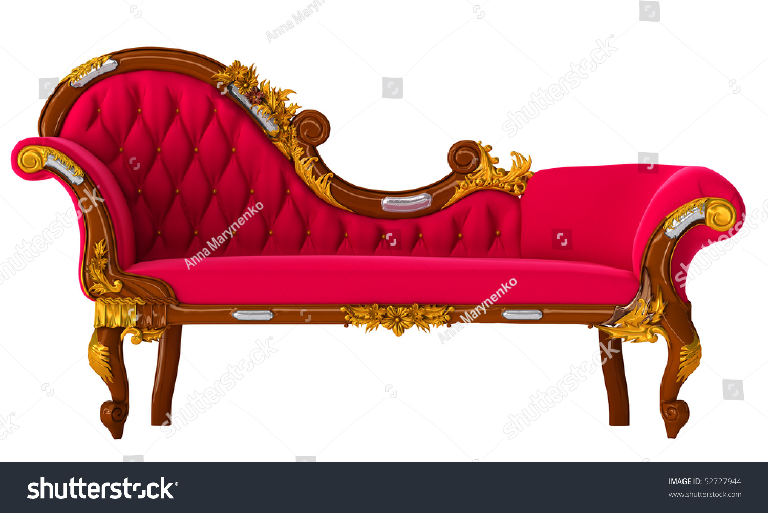 Royalty Free Stock Illustration Of Classic Red Sofa Figured Carving