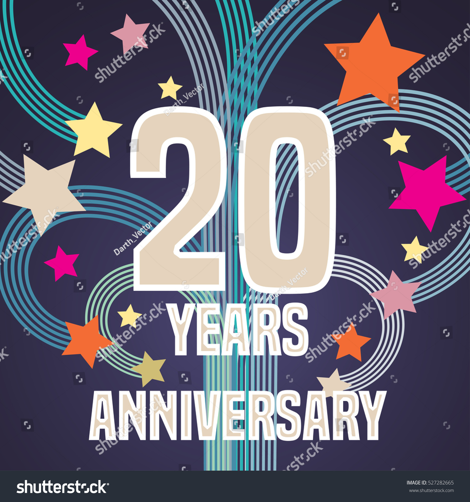 20 Years Anniversary Vector Illustration Banner Stock Vector