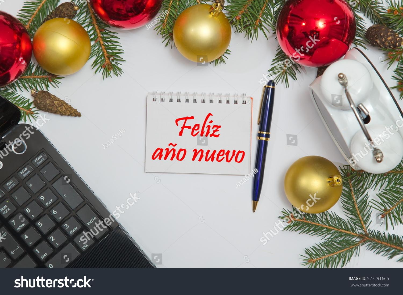 Notebook Spanish Text Feliz Ano Nuevo Stock Photo (Edit Now