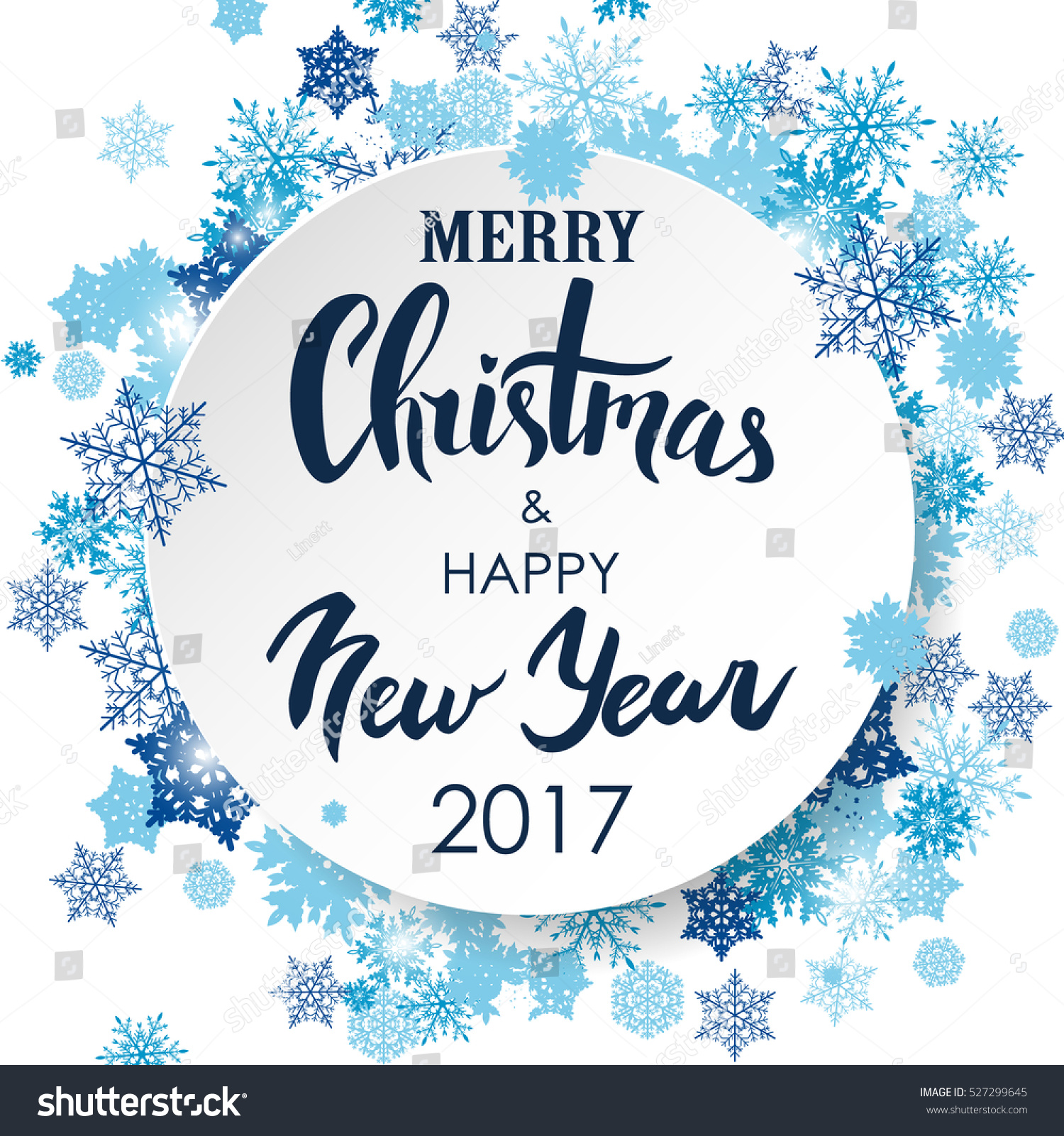 Merry Christmas Happy New Year Lettering Stock Vector (Royalty Free ...