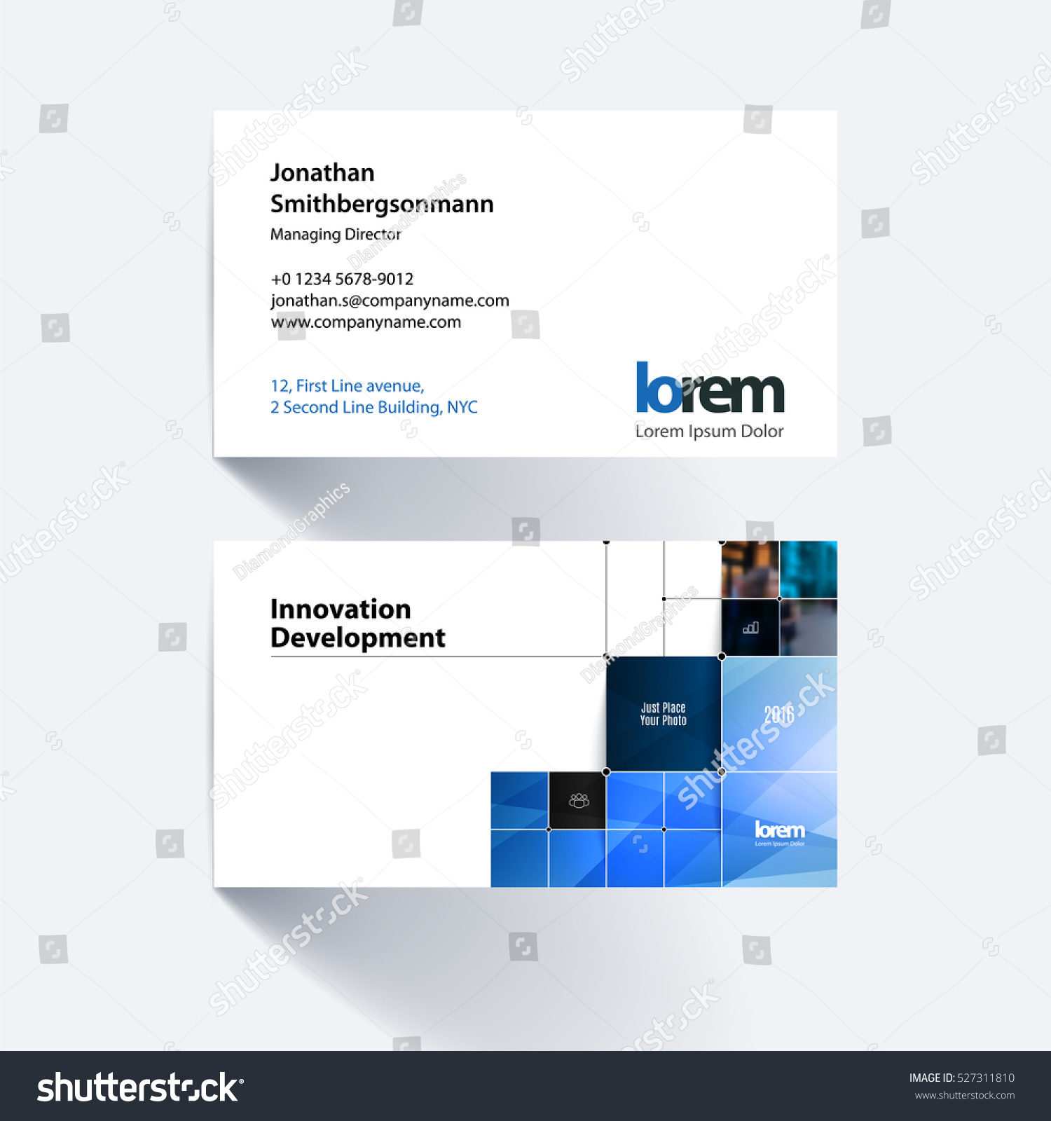 Vector Business Card Template Blue Rectangular Stock Vector ...