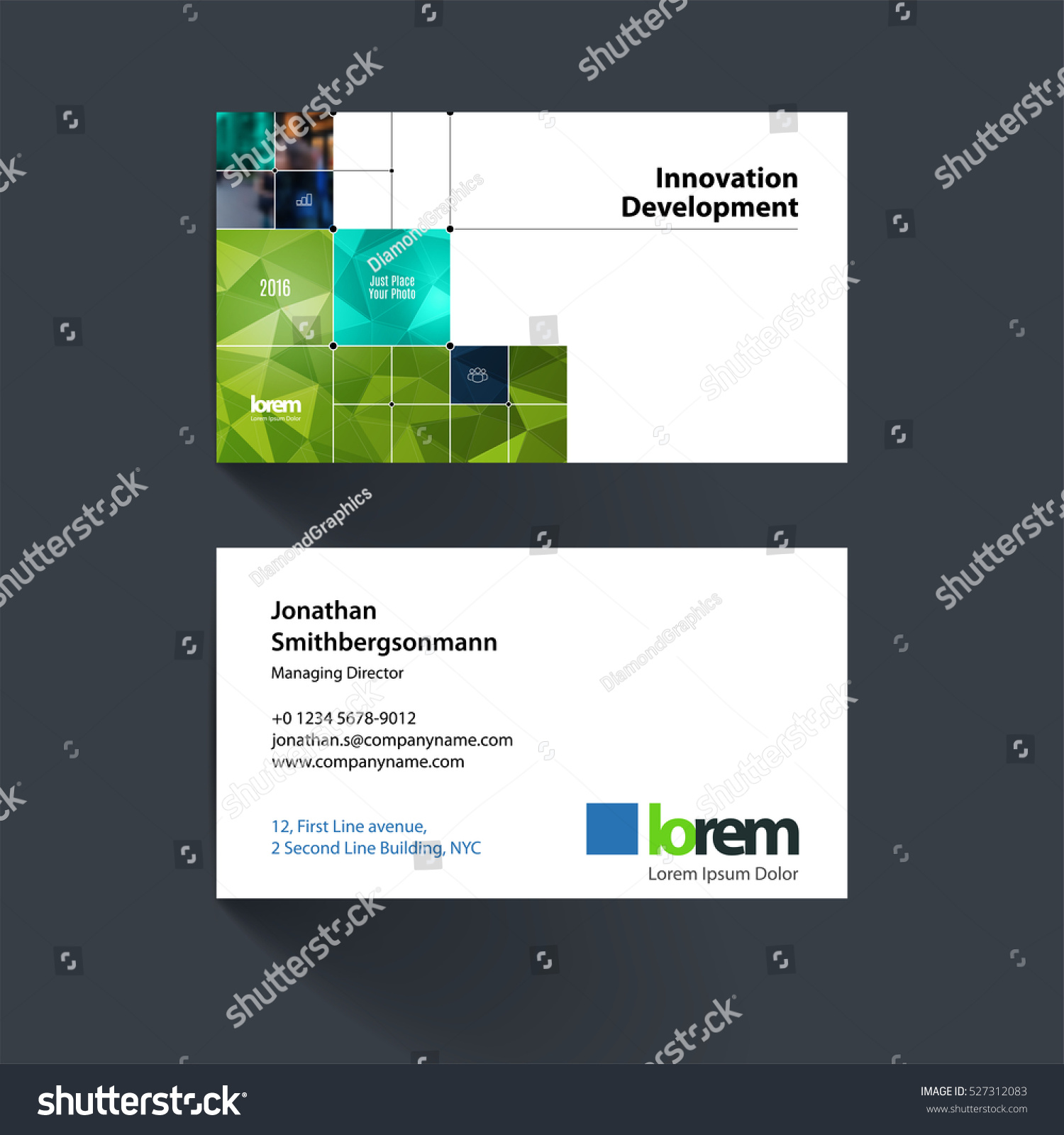 vector business card template green rectangular stock vector