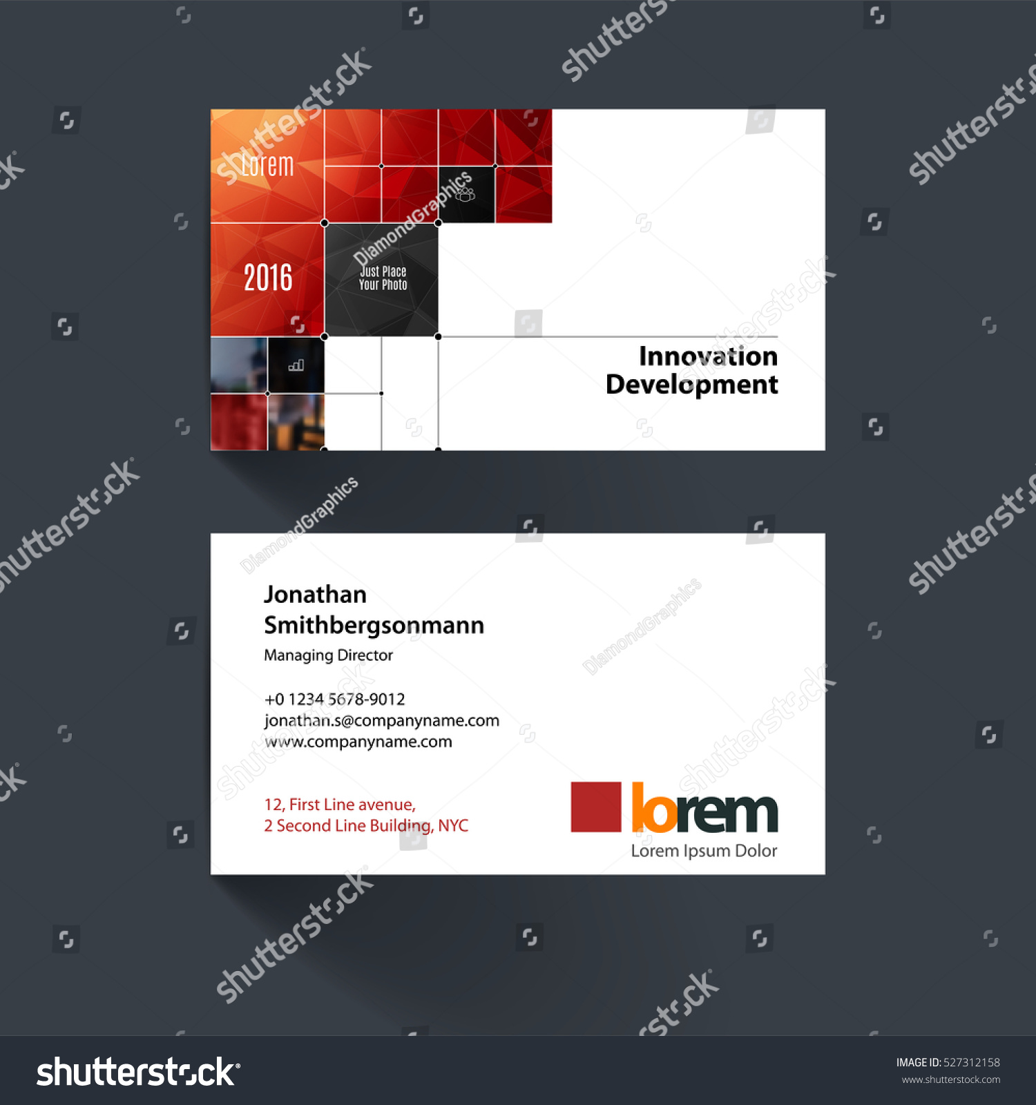 Vector Business Card Template Red Rectangular Stock Photo (Photo ...