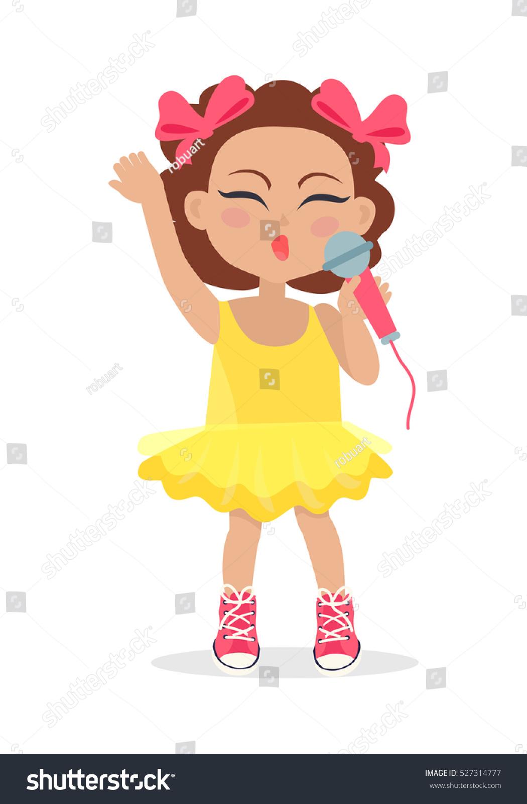 singing girl brown wavy hair two stock vector 527314777
