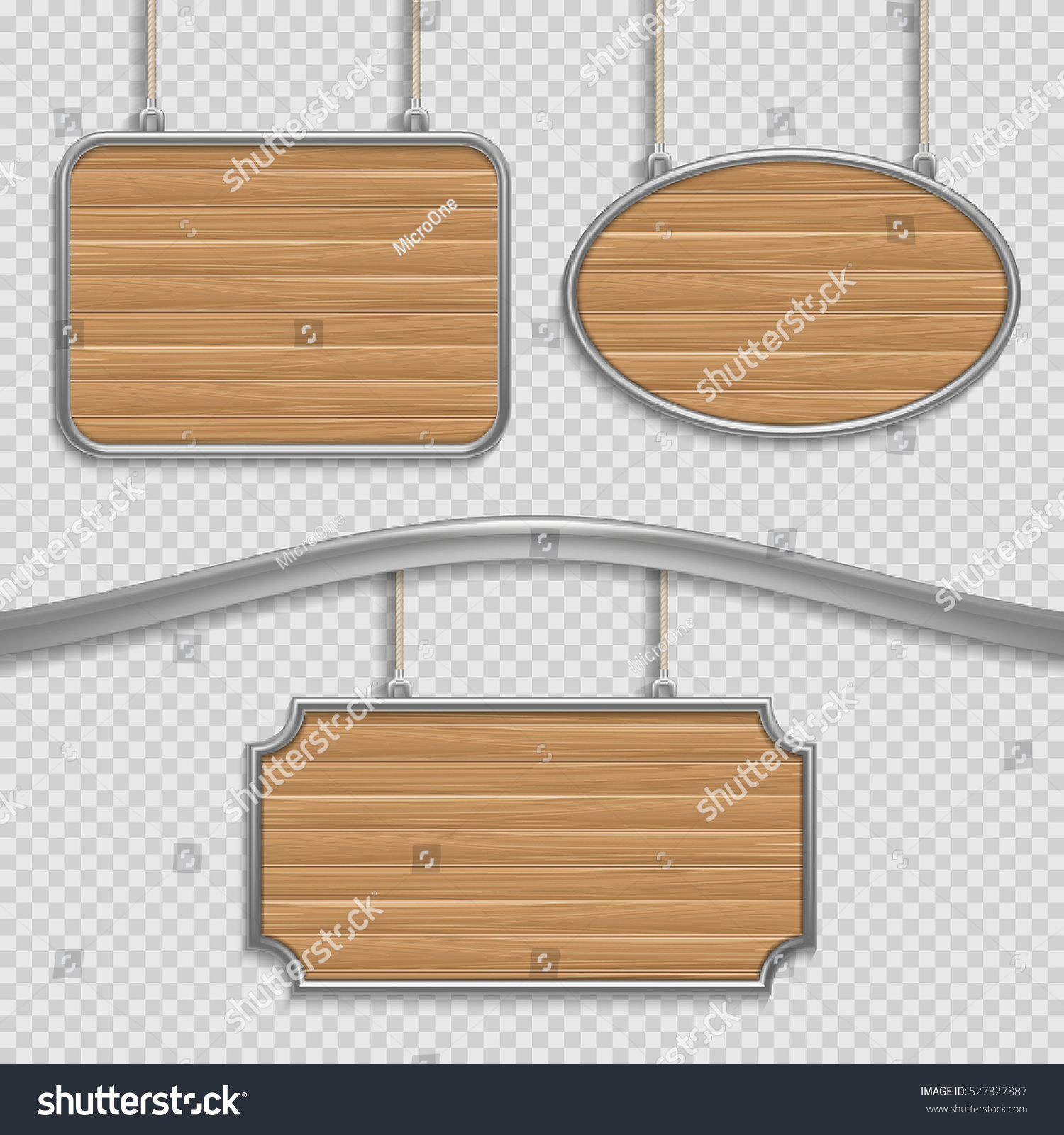 vector empty wooden hanging signs isolated stock vector