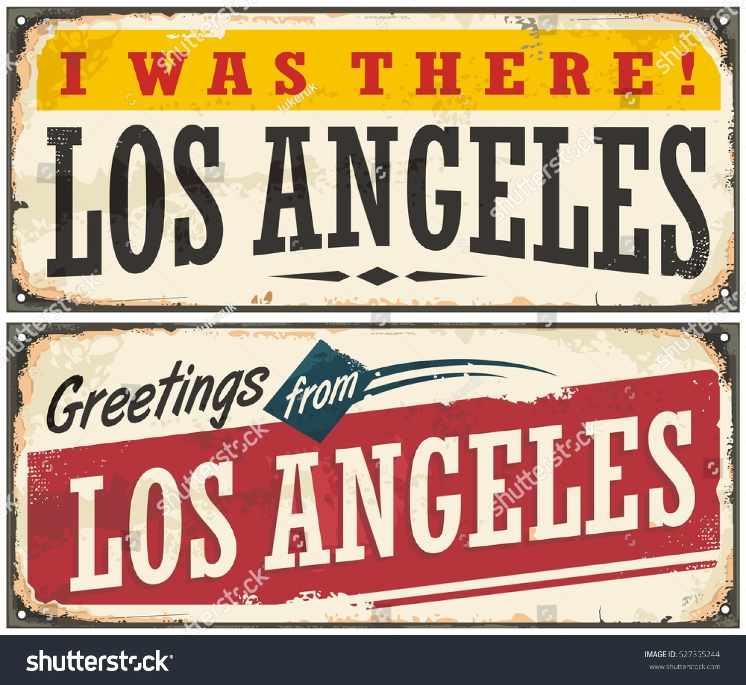 los angeles retro travel sign or postcard template greetings from