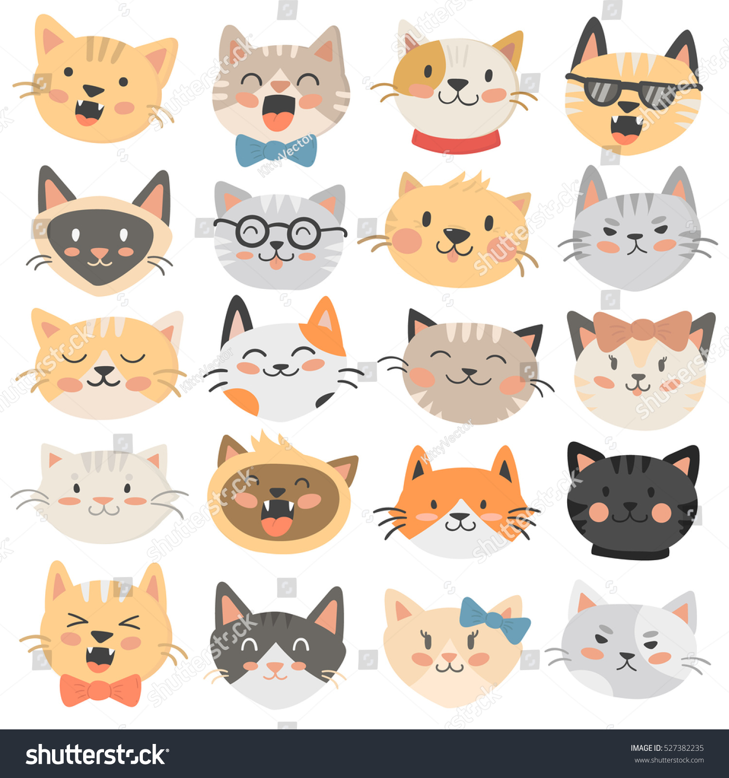 cats heads emoticons vector stock vector 527382235