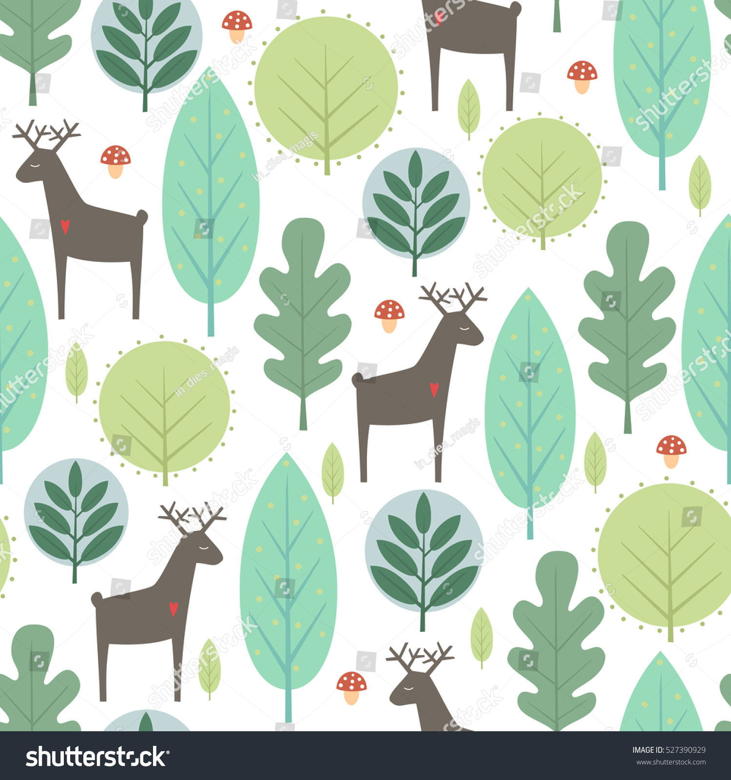 Seamless fir tree scandinavian pattern textile background wrapping - Spring Trees And Deer Seamless Pattern On White Background Decorative Forest Vector Illustration Cute