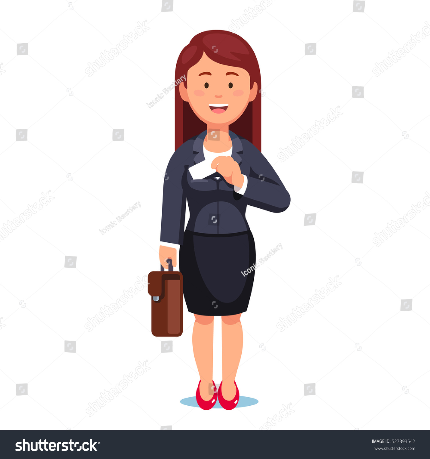 Standing business woman briefcase taking out stock vector standing business woman with a briefcase taking out business card from her jacket pocket flat magicingreecefo Image collections