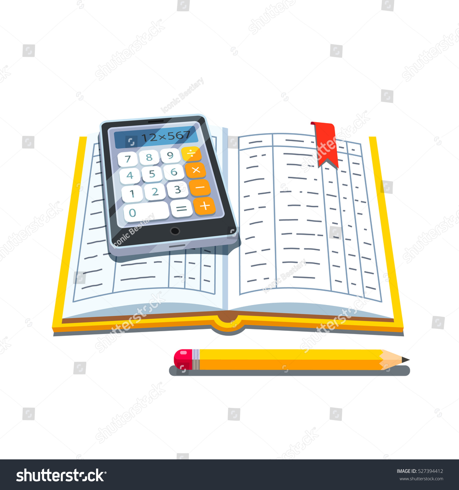 Open Accounting Book Ledger Tables Calculator Vector de ...