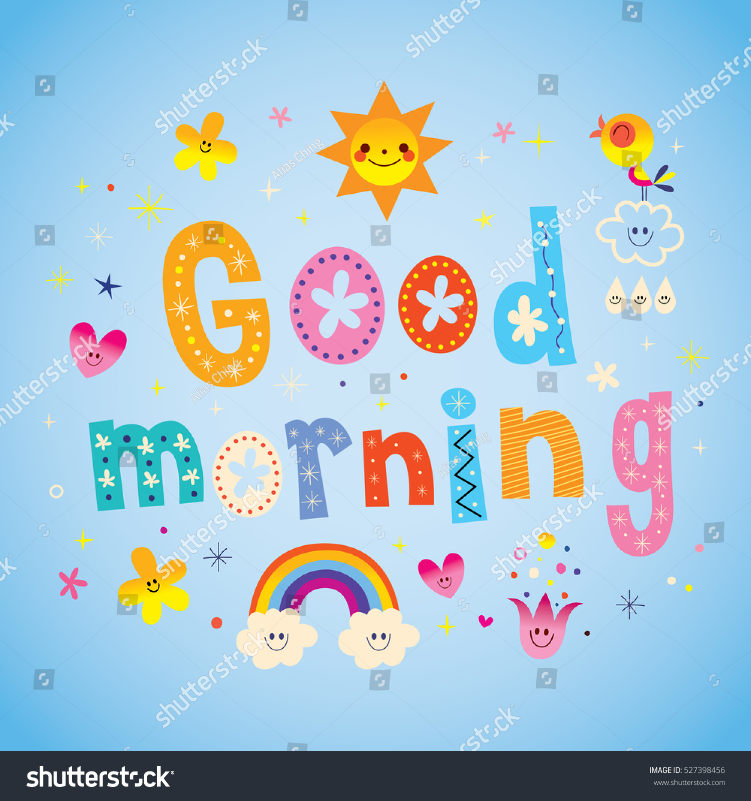 Goodmorning Unique Images: Good Morning Unique Lettering Design Cute Stock Vector