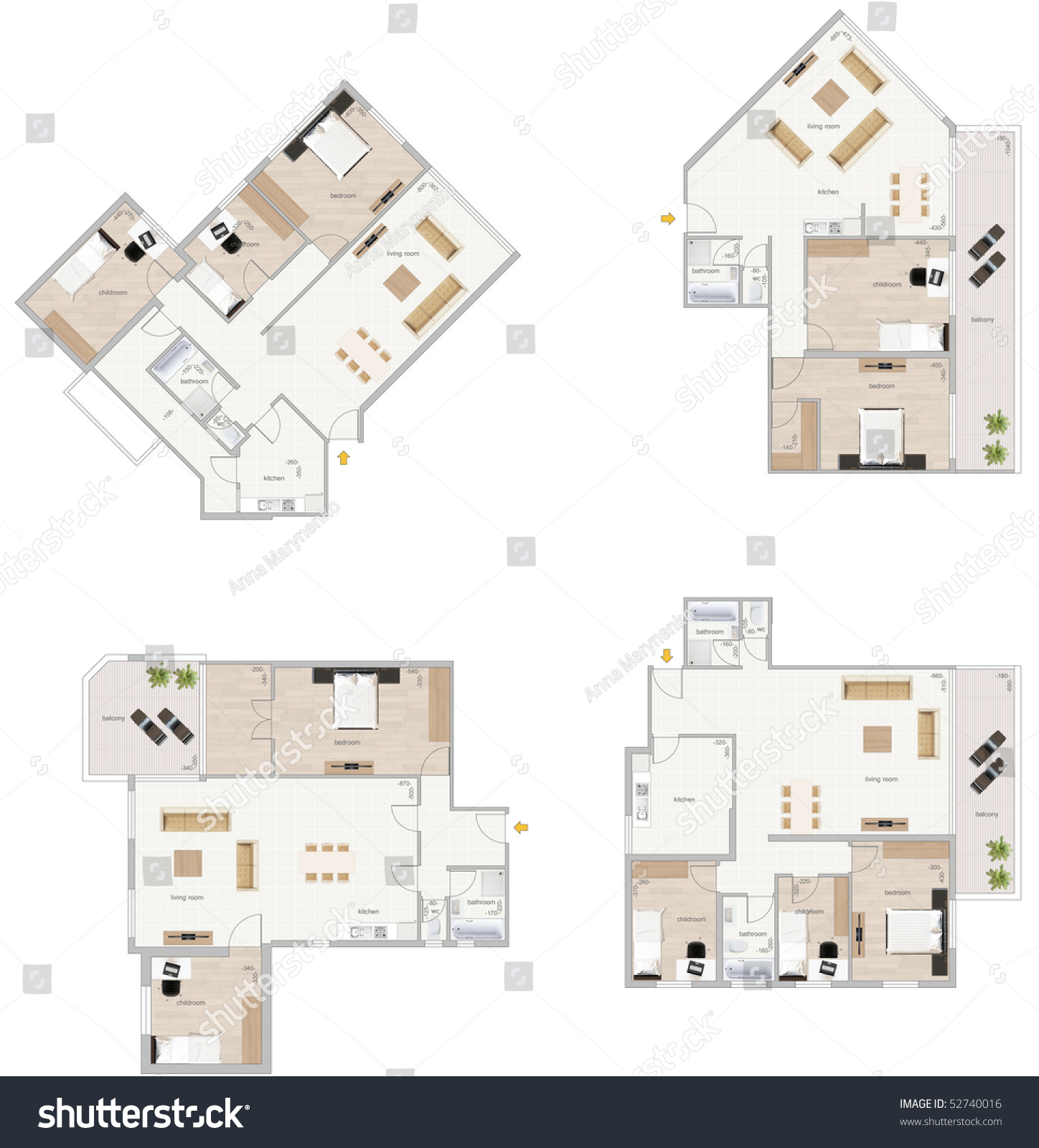 Floor Plan With Furniture And Sizes Of Rooms High