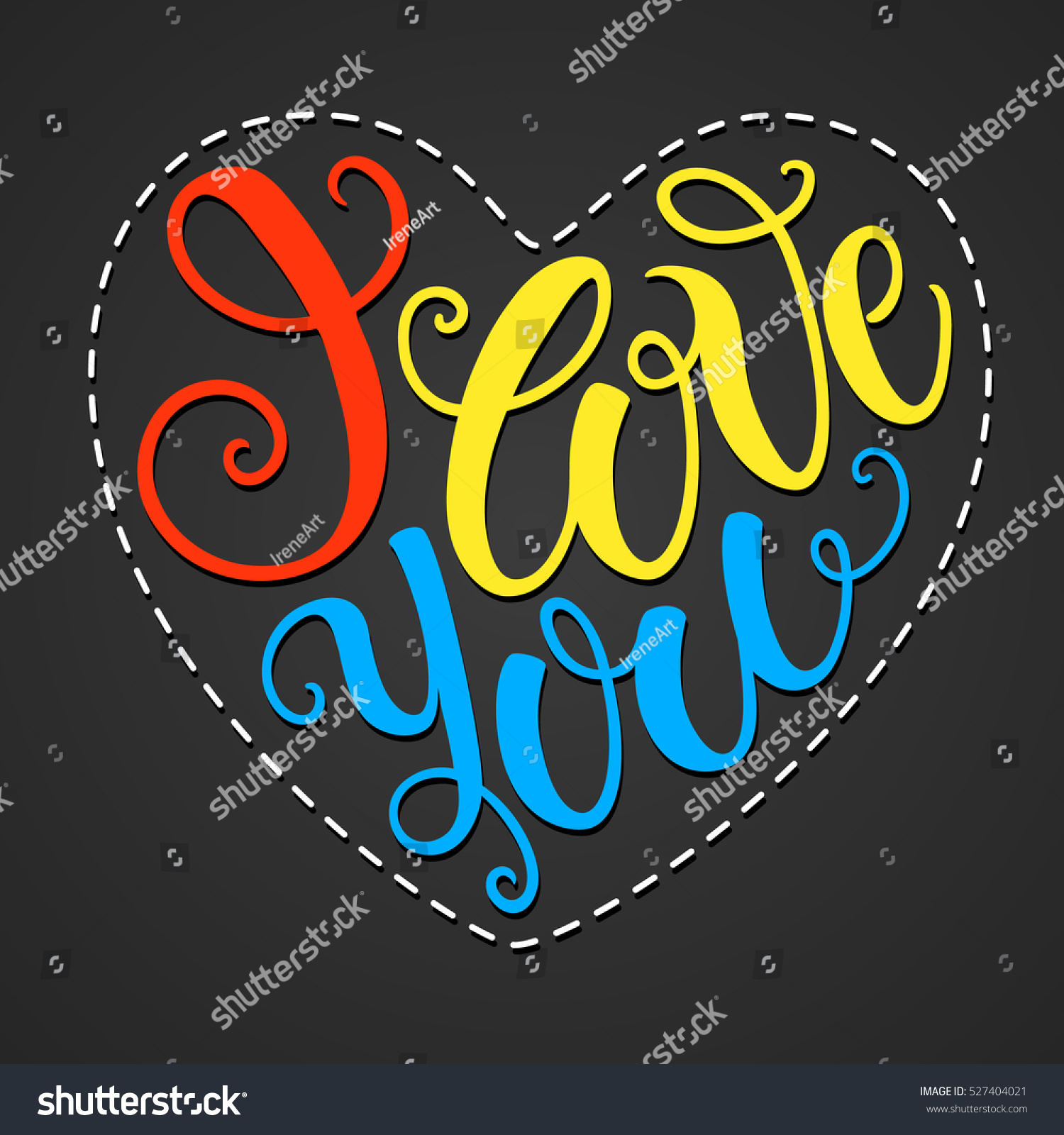 love you doodle heart shaped hand stock vector