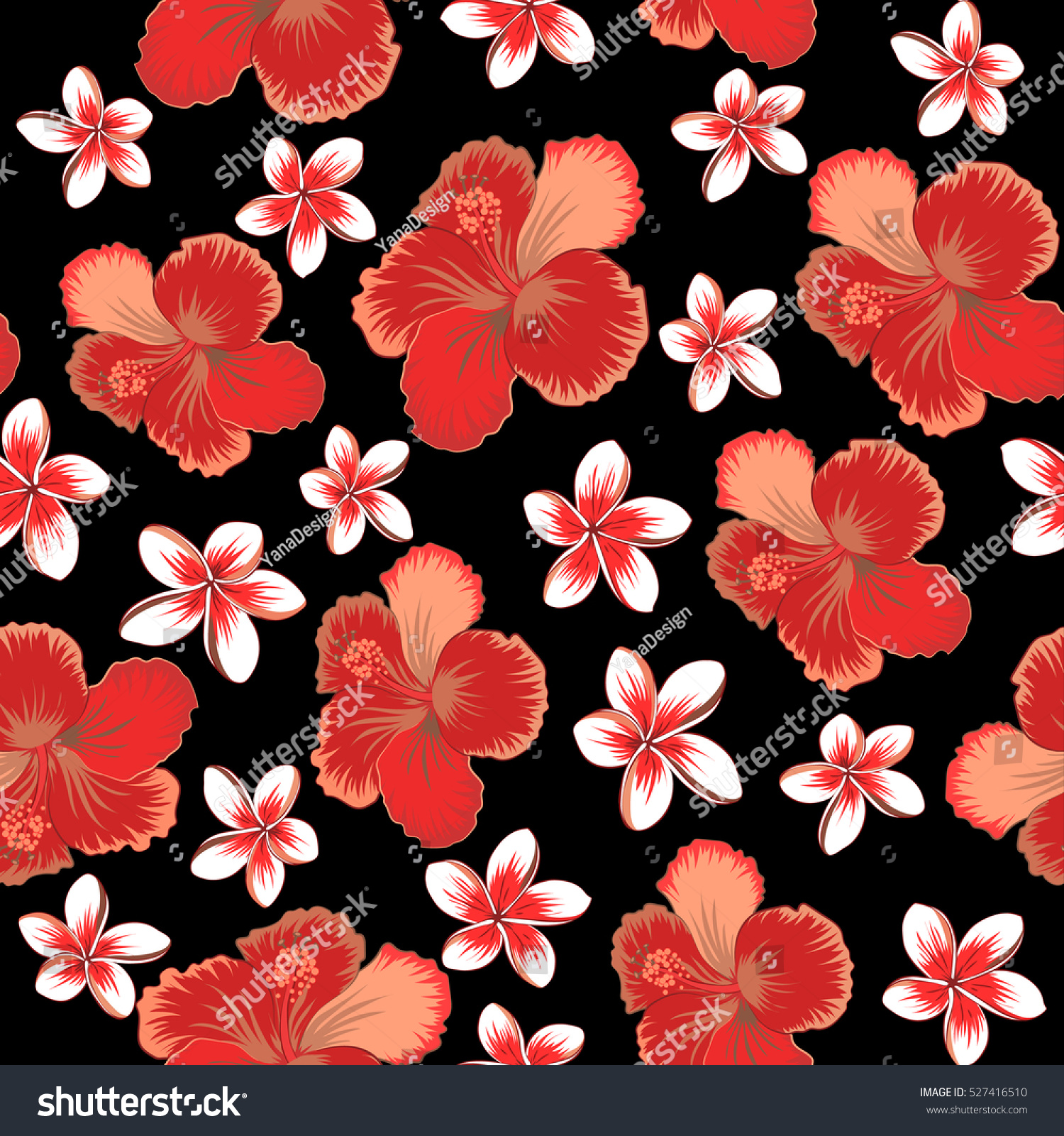 Hibiscus flower seamless pattern in brown, orange and red colors on ...