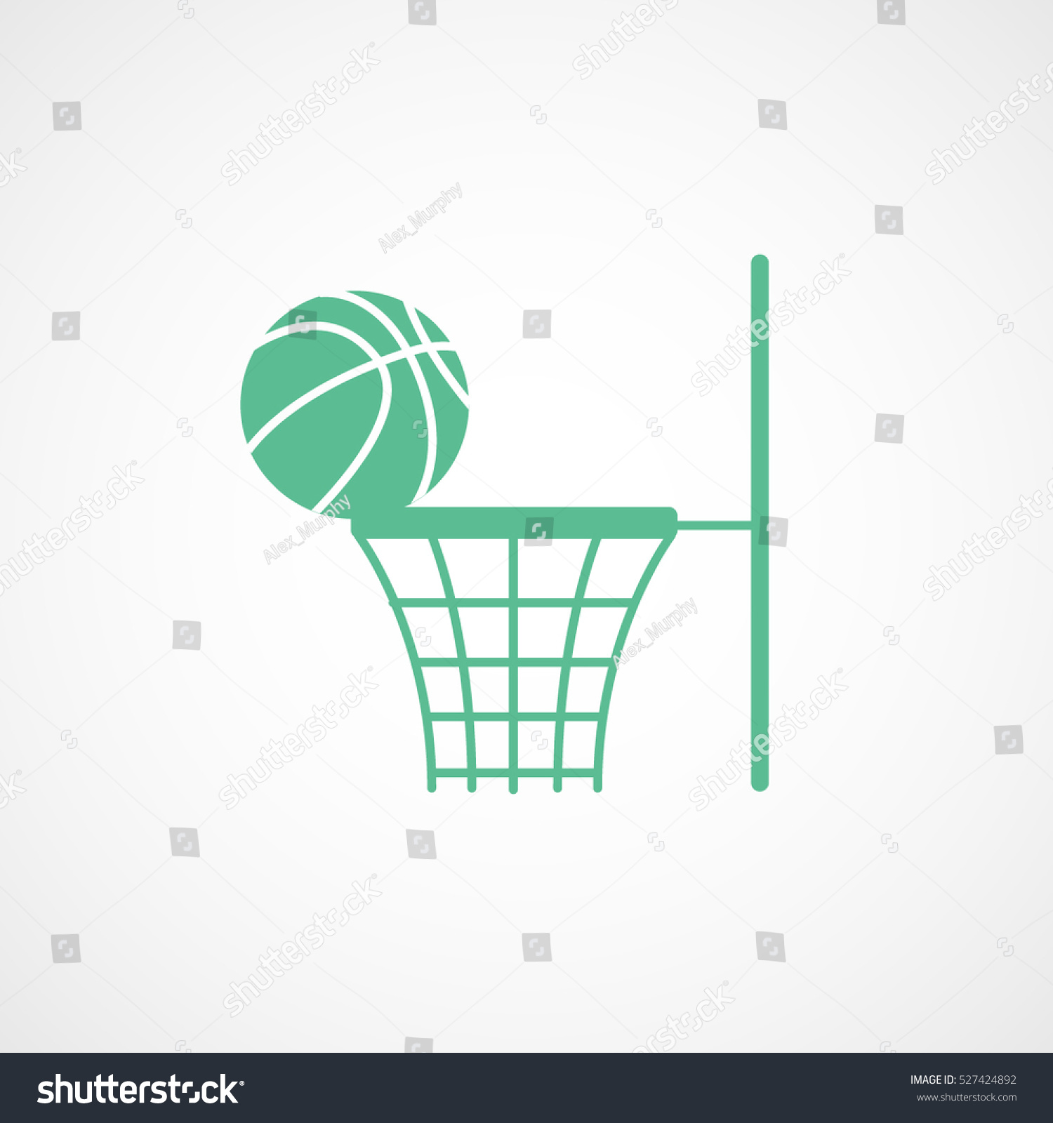 Basketball Hoop Green Flat Icon On Stock Vector Royalty Free Diagram White Background