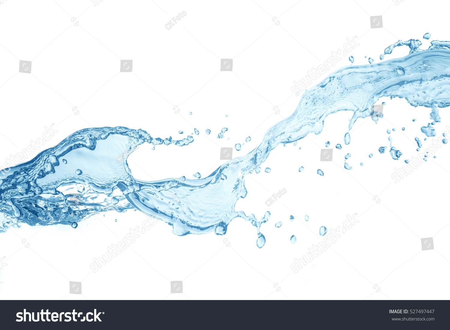 water splash isolated on white background,beautiful splashes a clean water #527497447