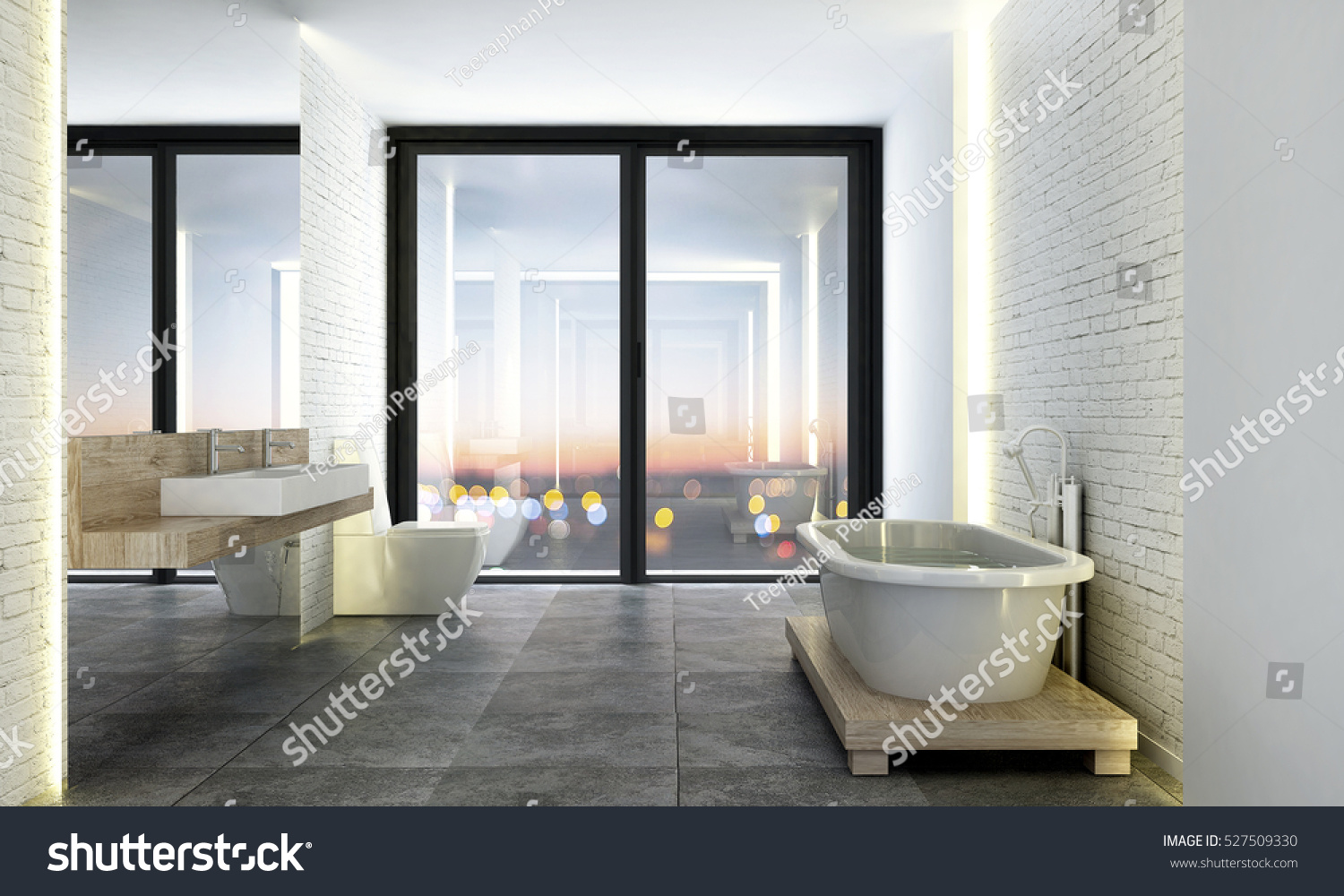3 D Rendering Loft Bathroom Design Stock Illustration 527509330 ...