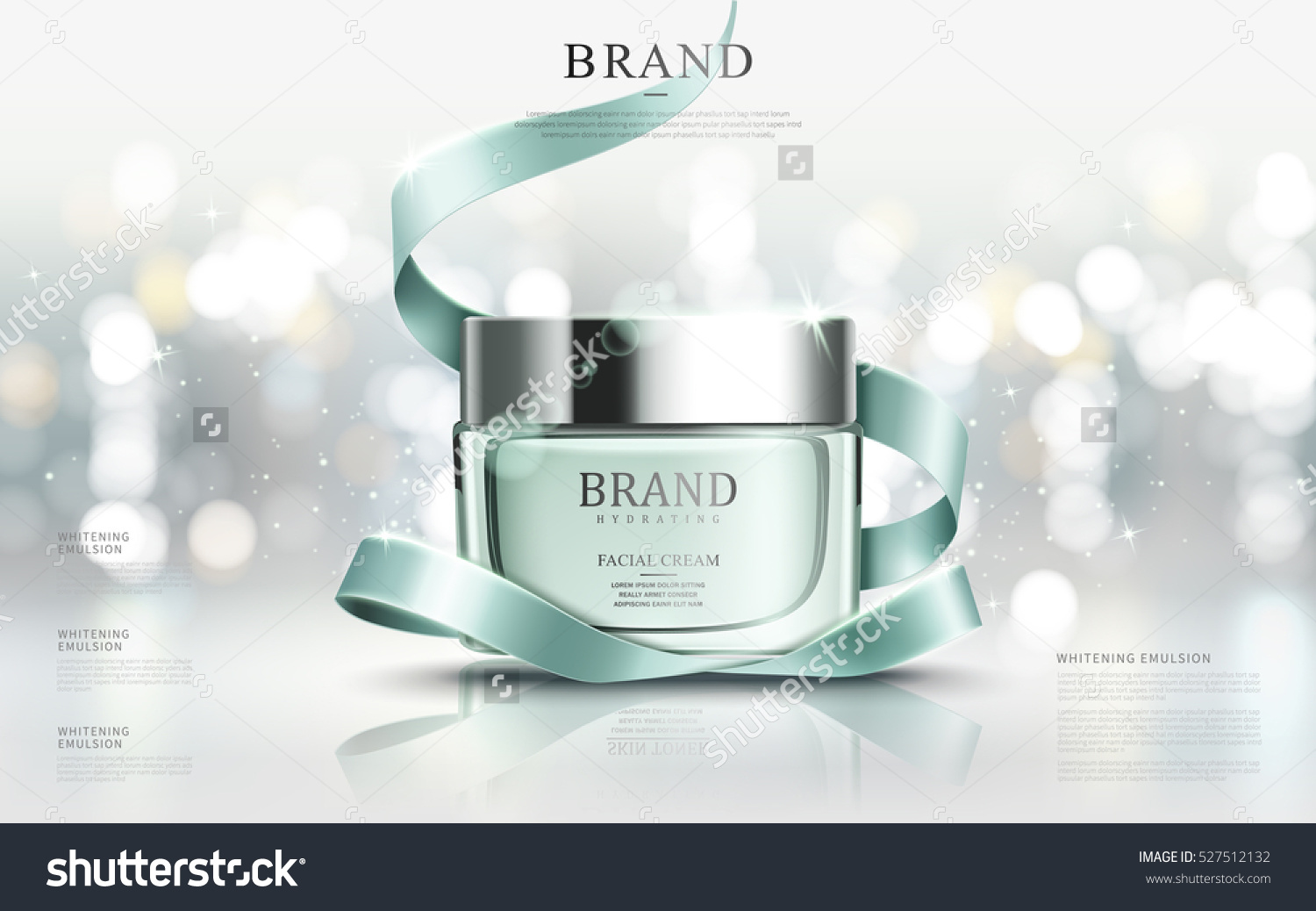 Graceful cosmetic ads, hydrating facial cream for annual sale or christmas sale. Turquoise cream mask bottle isolated on glitter particles with elegant ribbon. 3D illustration. #527512132