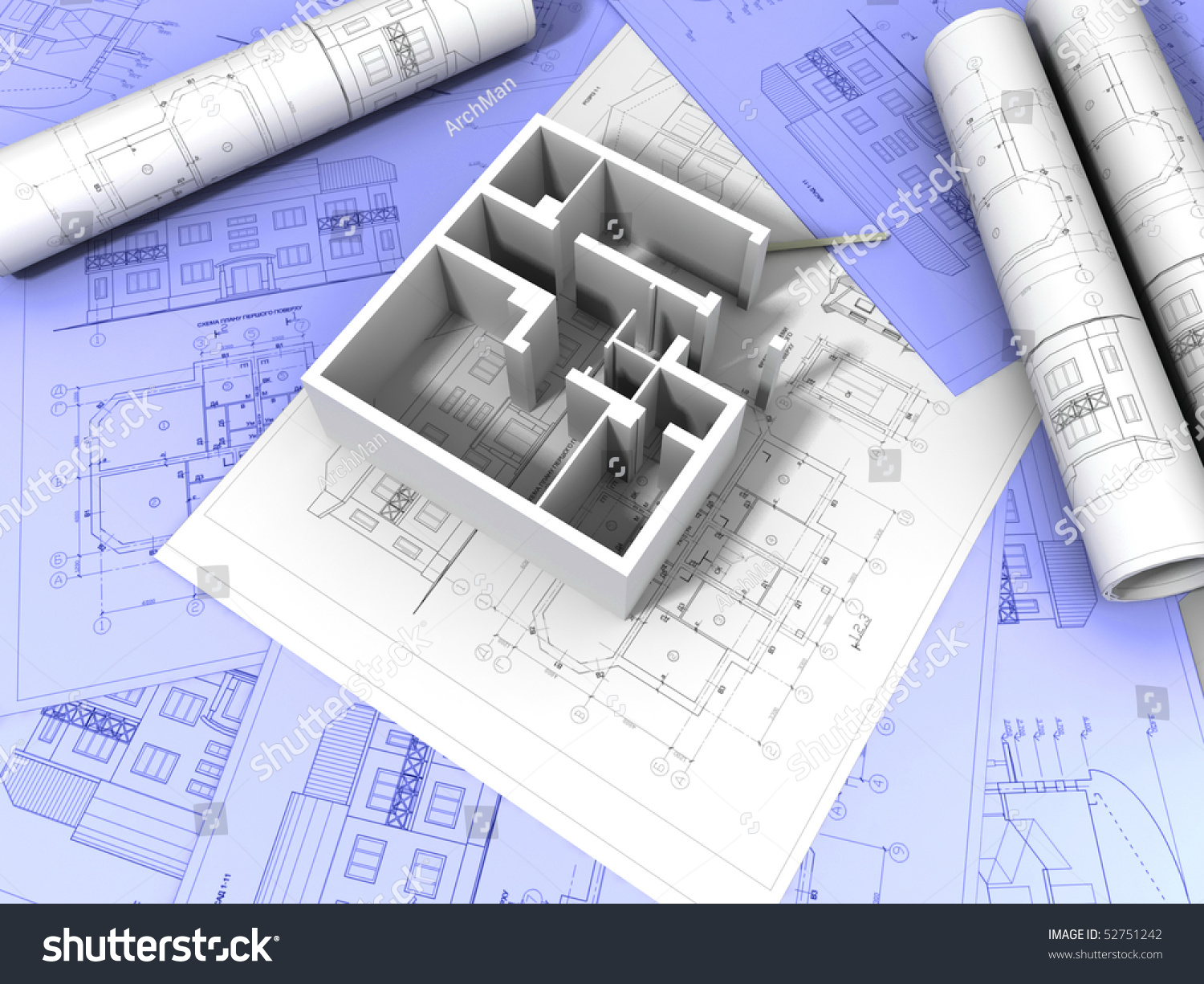 3d plan drawing stock photo 52751242 shutterstock for 3d plan drawing