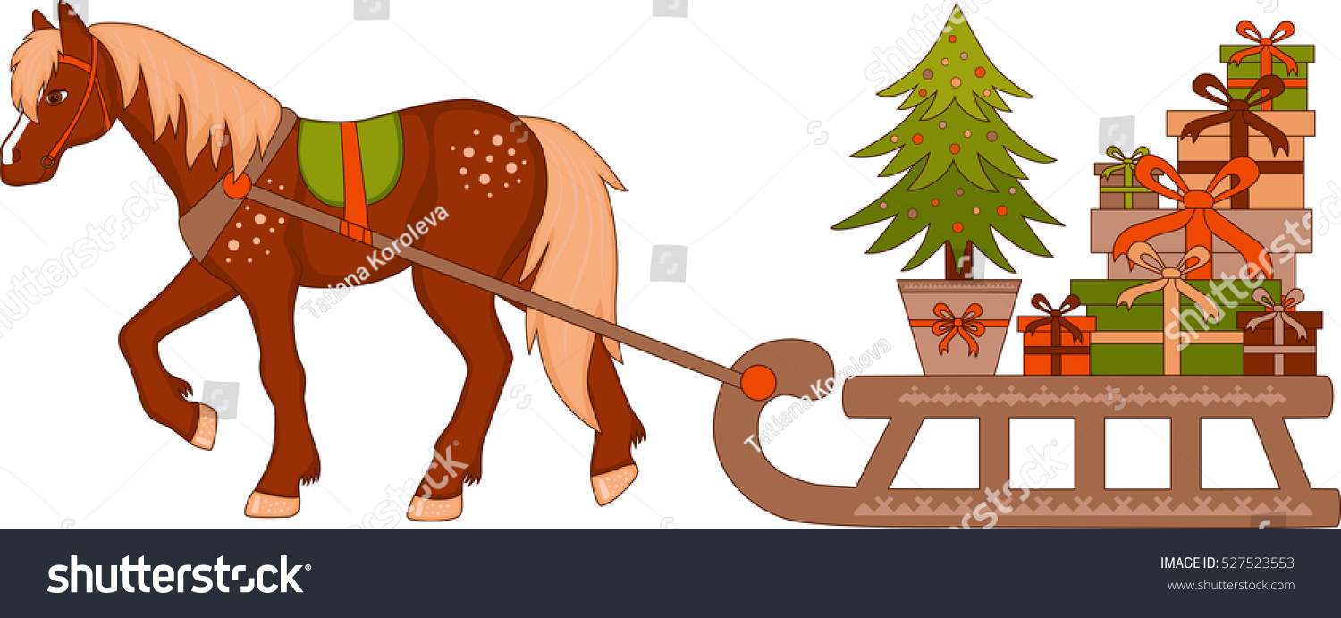 Horse Driven Sleigh Boxes Gifts Christmas Stock Vector (Royalty Free ...
