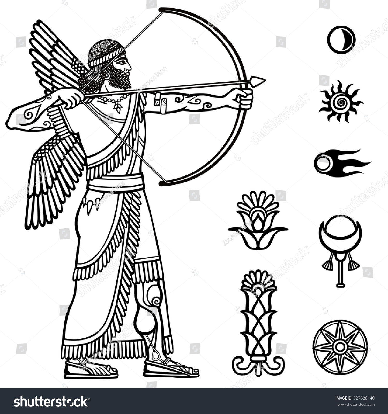 Image Ancient Archer Full Growth Black Stock Vector Royalty Free