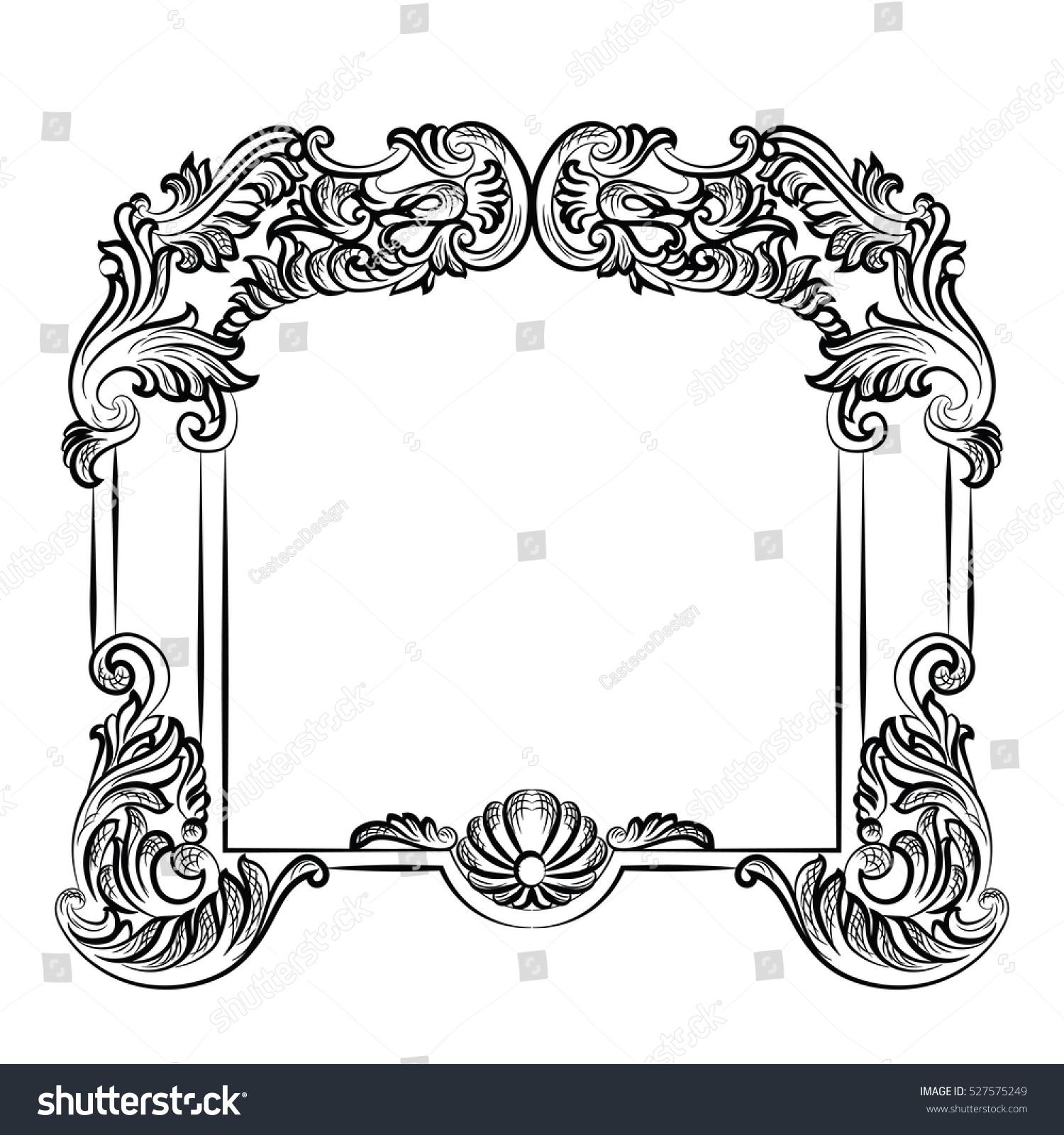Wilko baroque mirror silver 87x62cm -  Imperial Baroque Mirror Frame Vector French Stock Vector 527575249