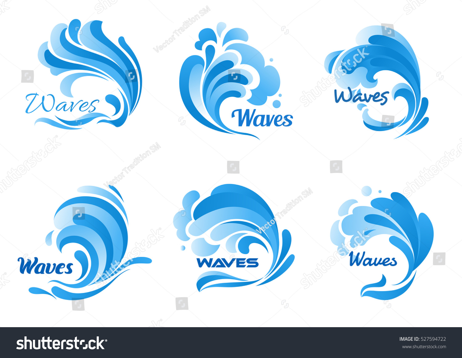 Waves Vector Isolated Icons Water Ocean Stock Vector ...