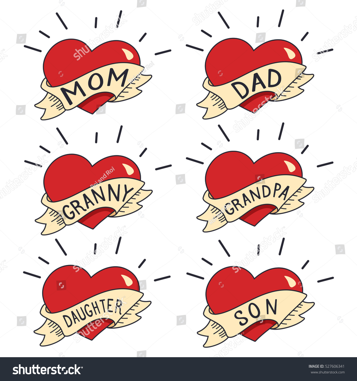 Heart And Mom Dad Tattoo: Old School Tattoo Vector Set Isolated Stock Vector