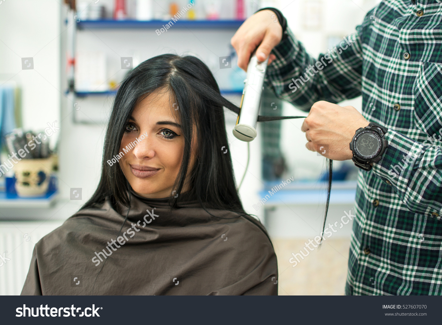 Close Young Woman Getting New Haircut Stock Photo Edit Now