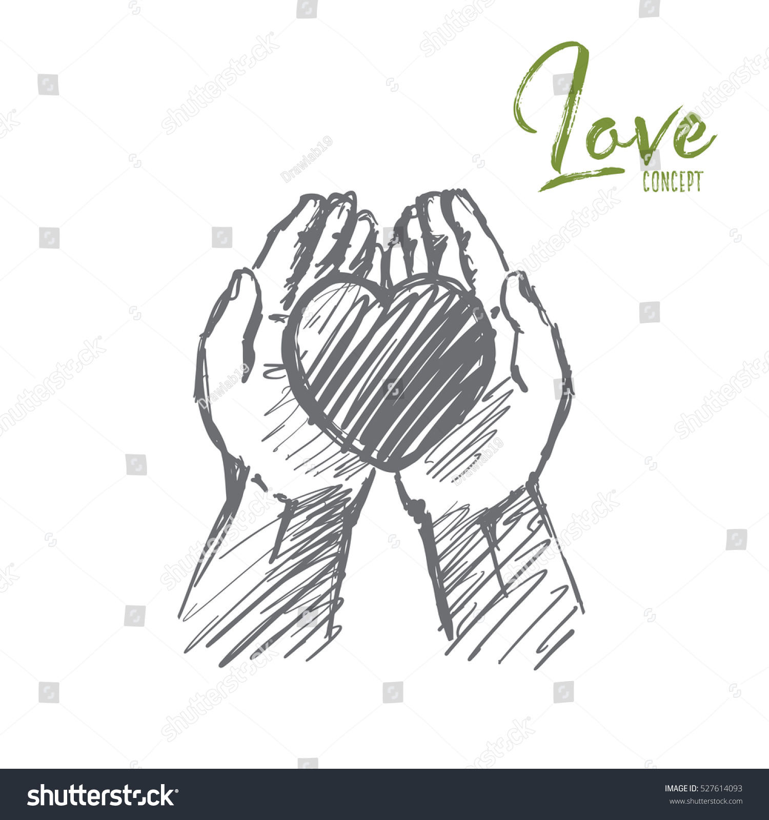 Vector hand drawn love concept sketch heart in caring human palms lettering love concept