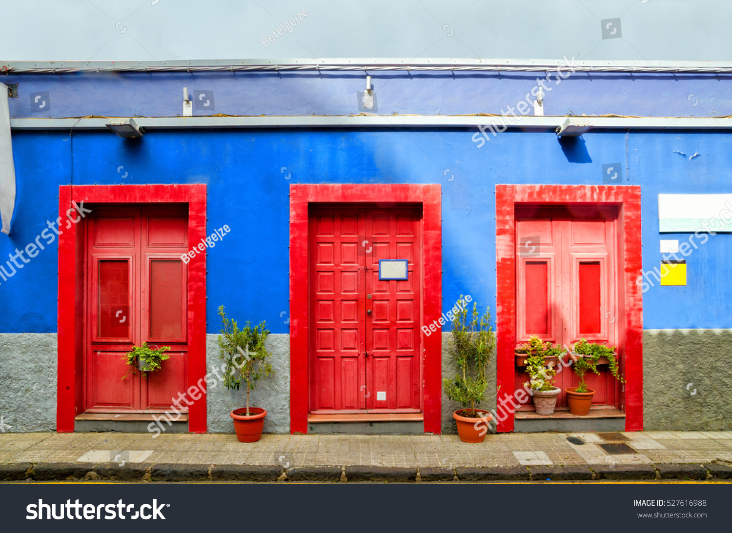 Blue House Three Red Doors Old Stock Photo Edit Now 527616988