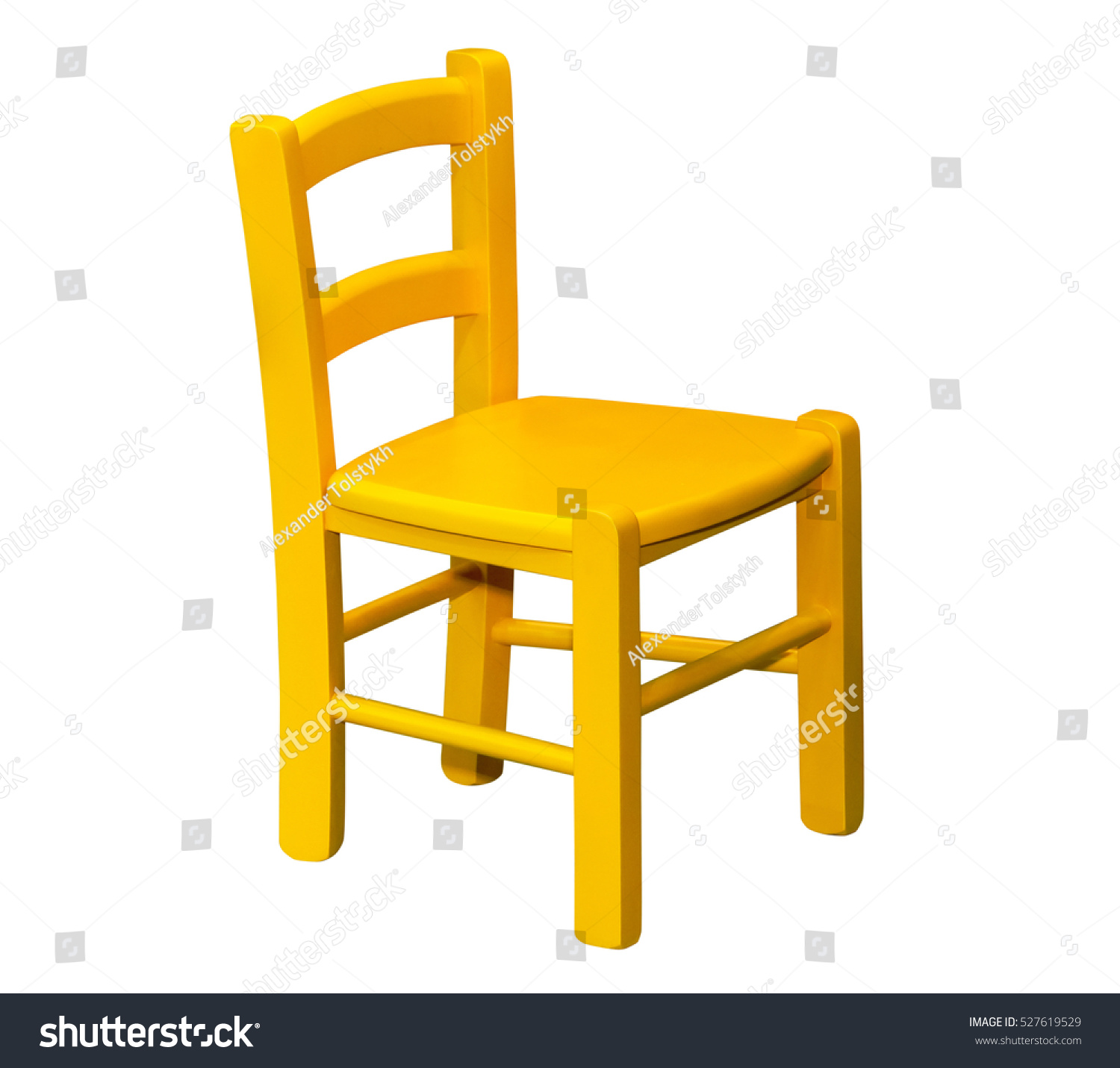 Kids Wooden Yellow Chair Isolated Stock