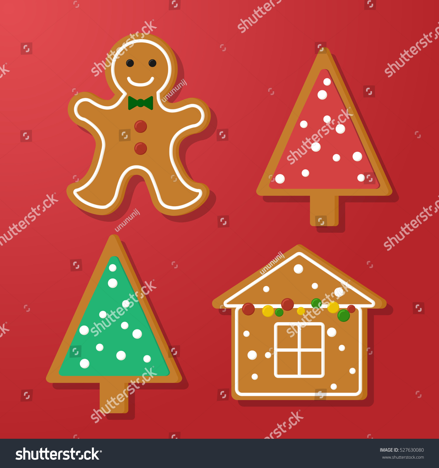 Set Vector Icons Christmas Ginger Bread Stock Vector Royalty Free 527630080