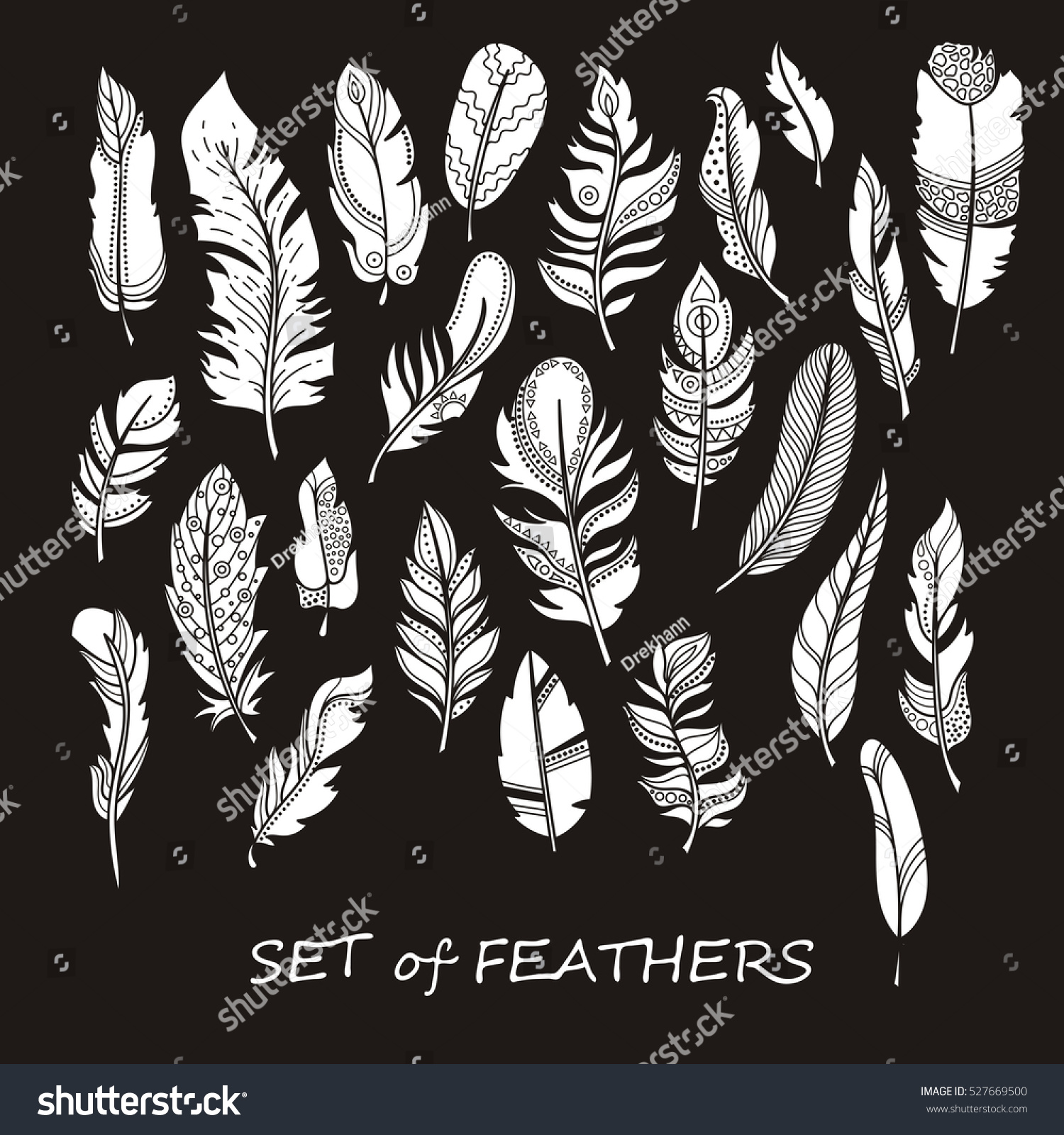 stock photo ornate set of stylized and abstract silhouette zentangle feathers elements for design and coloring