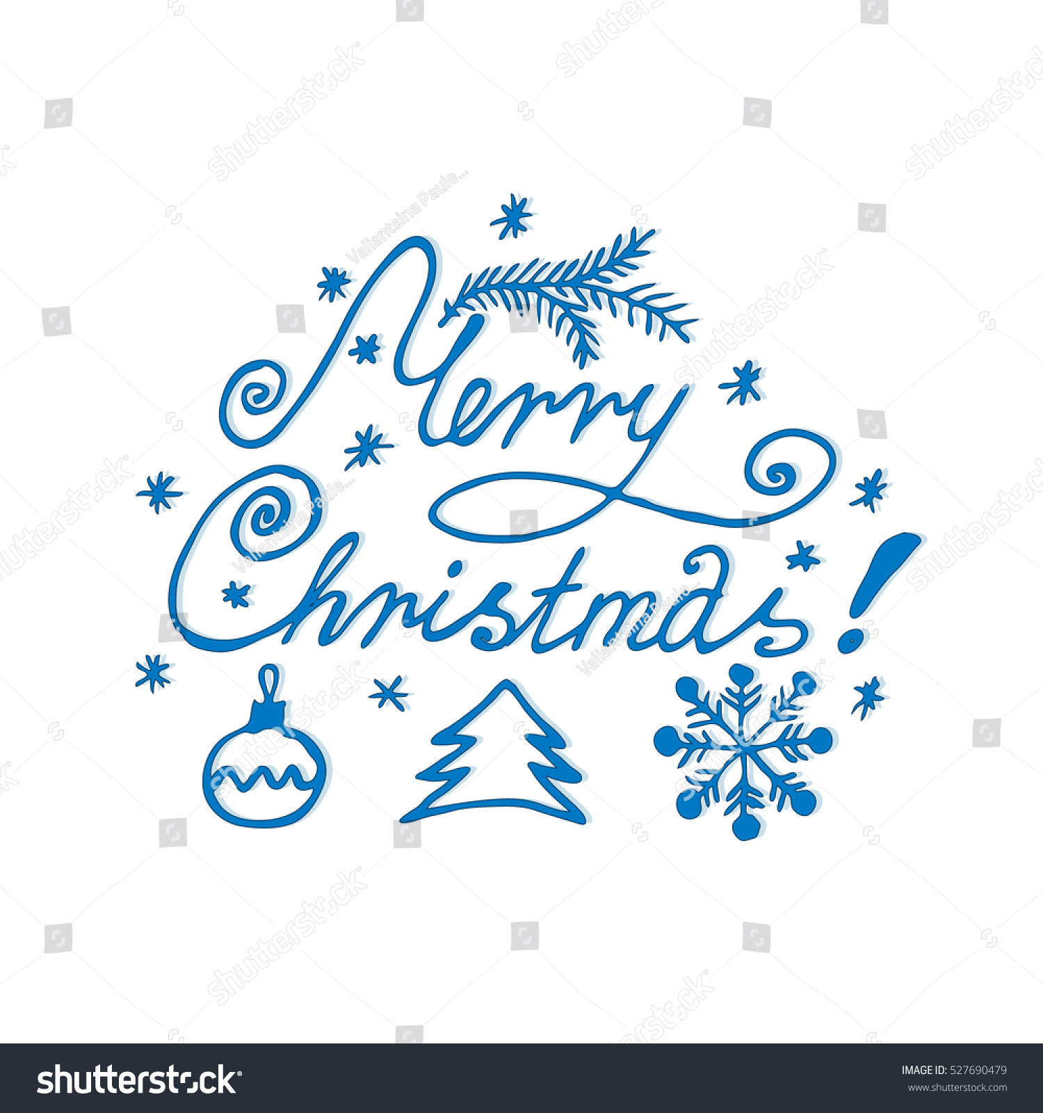 Merry Christmas Lettering Writing Greeting Line Stock