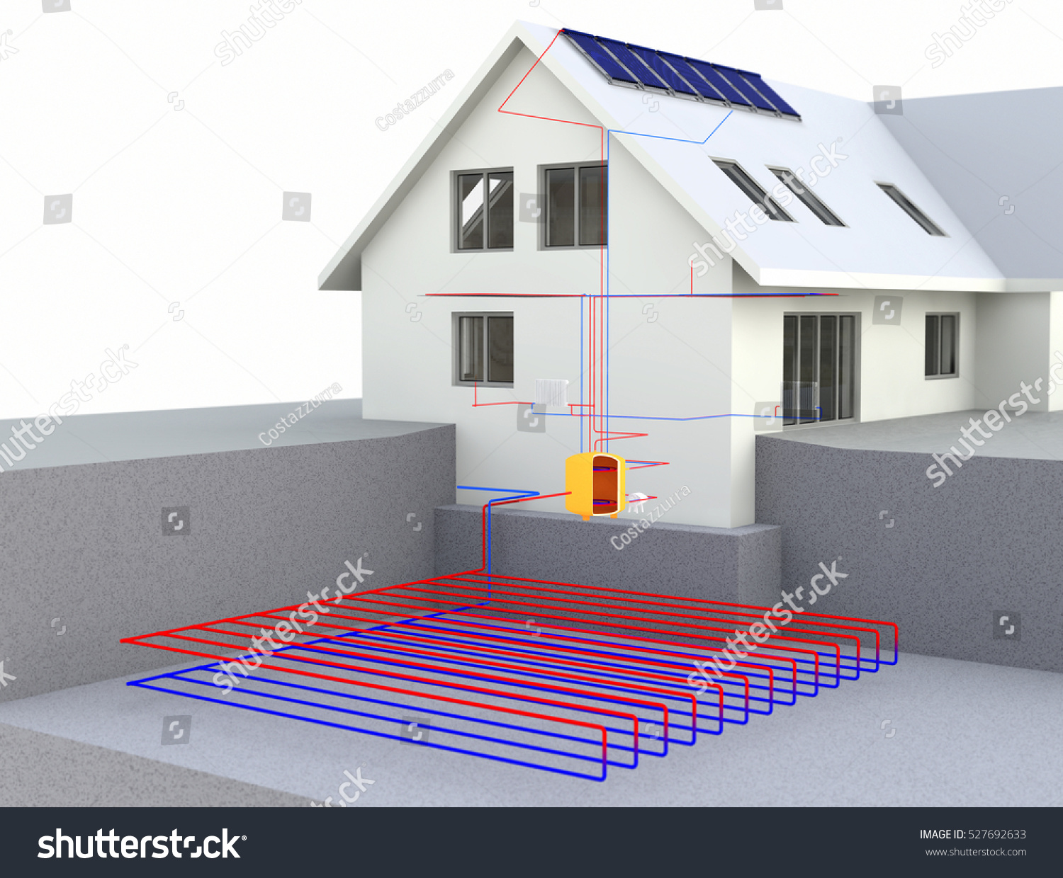 Geothermal power house solar panels geothermal stock for Alternative heating systems for homes