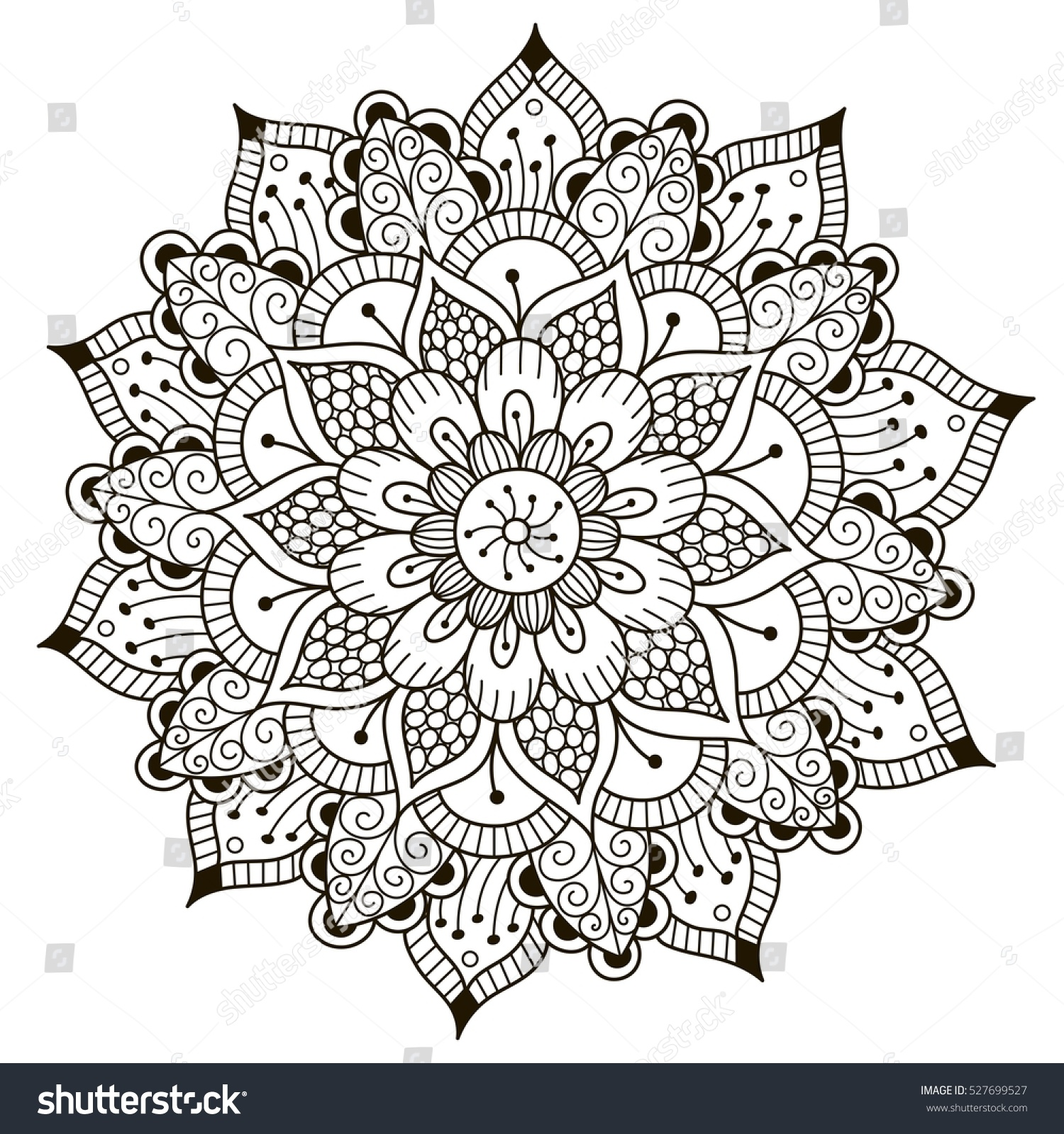 Beautiful Deco Floral Mandala Vector Round Stock Vector (2018 ...