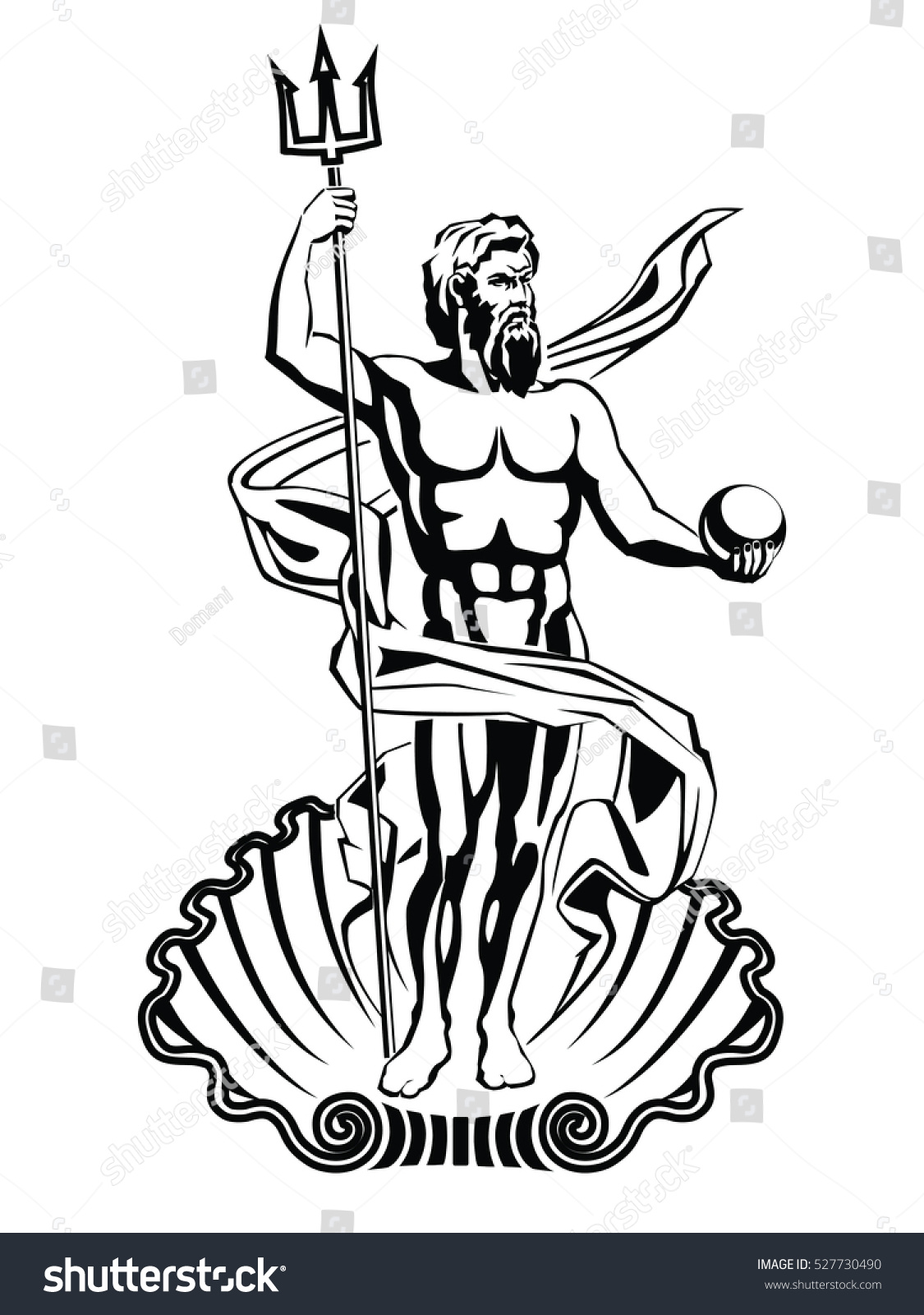 Neptune Sea God Roman Mythology Vector Stock Vector 527730490 ...