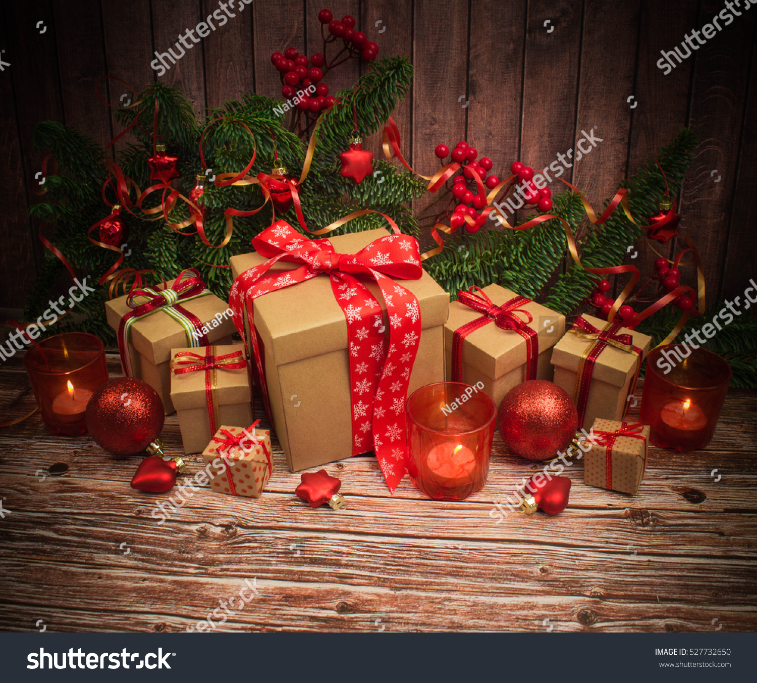 Christmas or New Year background: gifts, red glass balls, decoration ...
