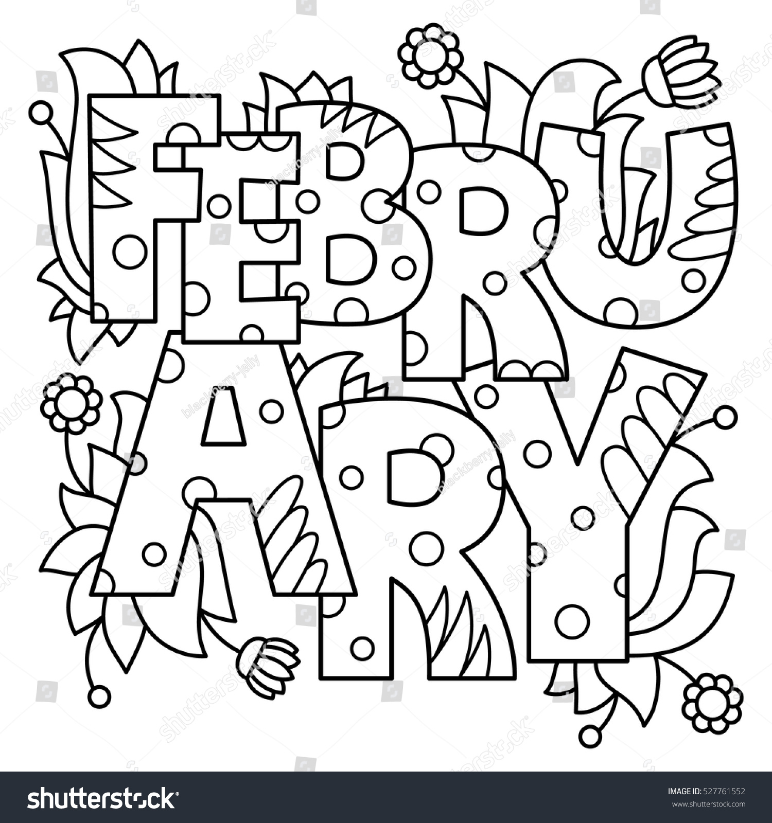 Black White Vector Illustration February Coloring Stock Vector ...